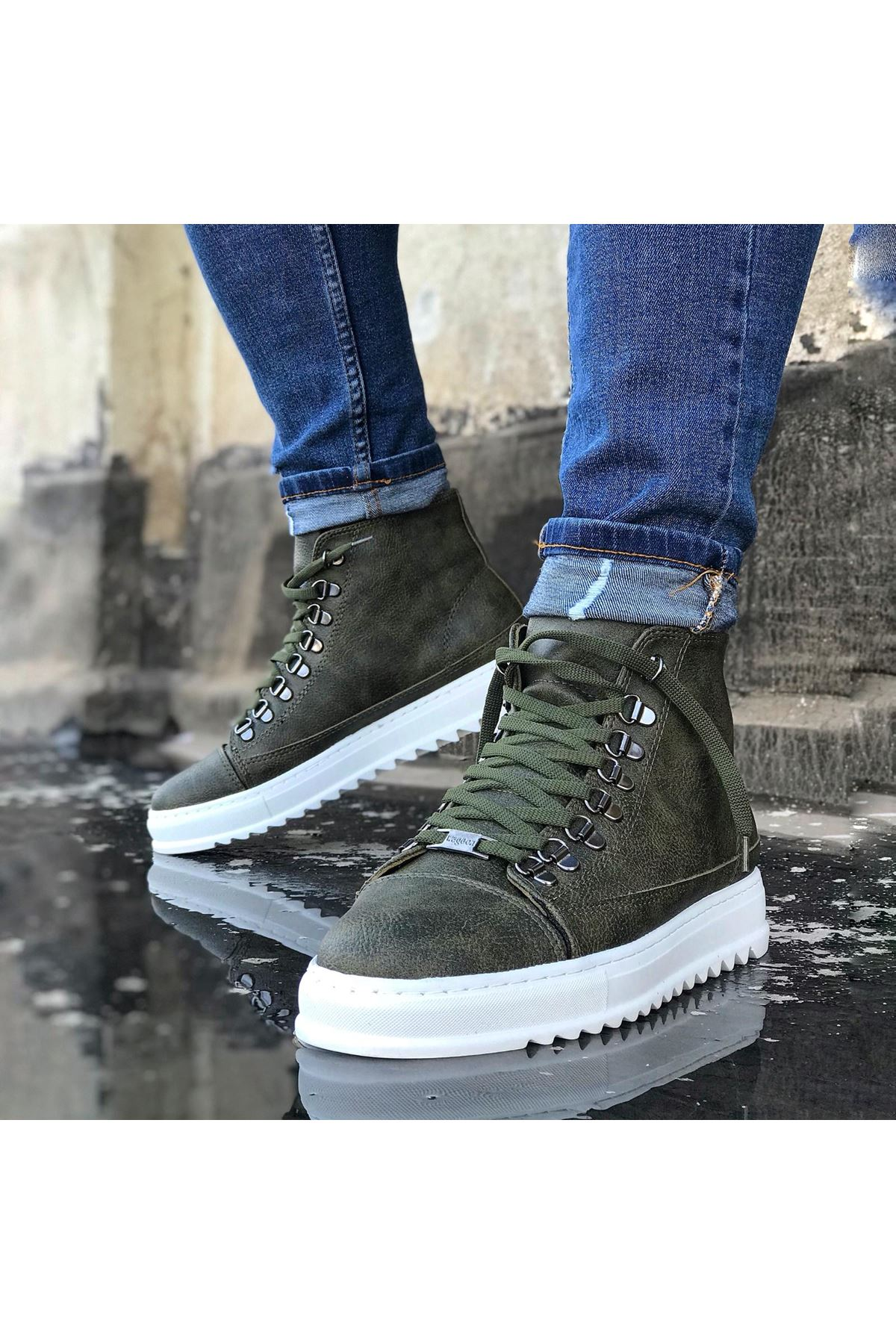 Wagoon WG034 Haki Bağcıklı Sneakers  Yarım Bilek Bot