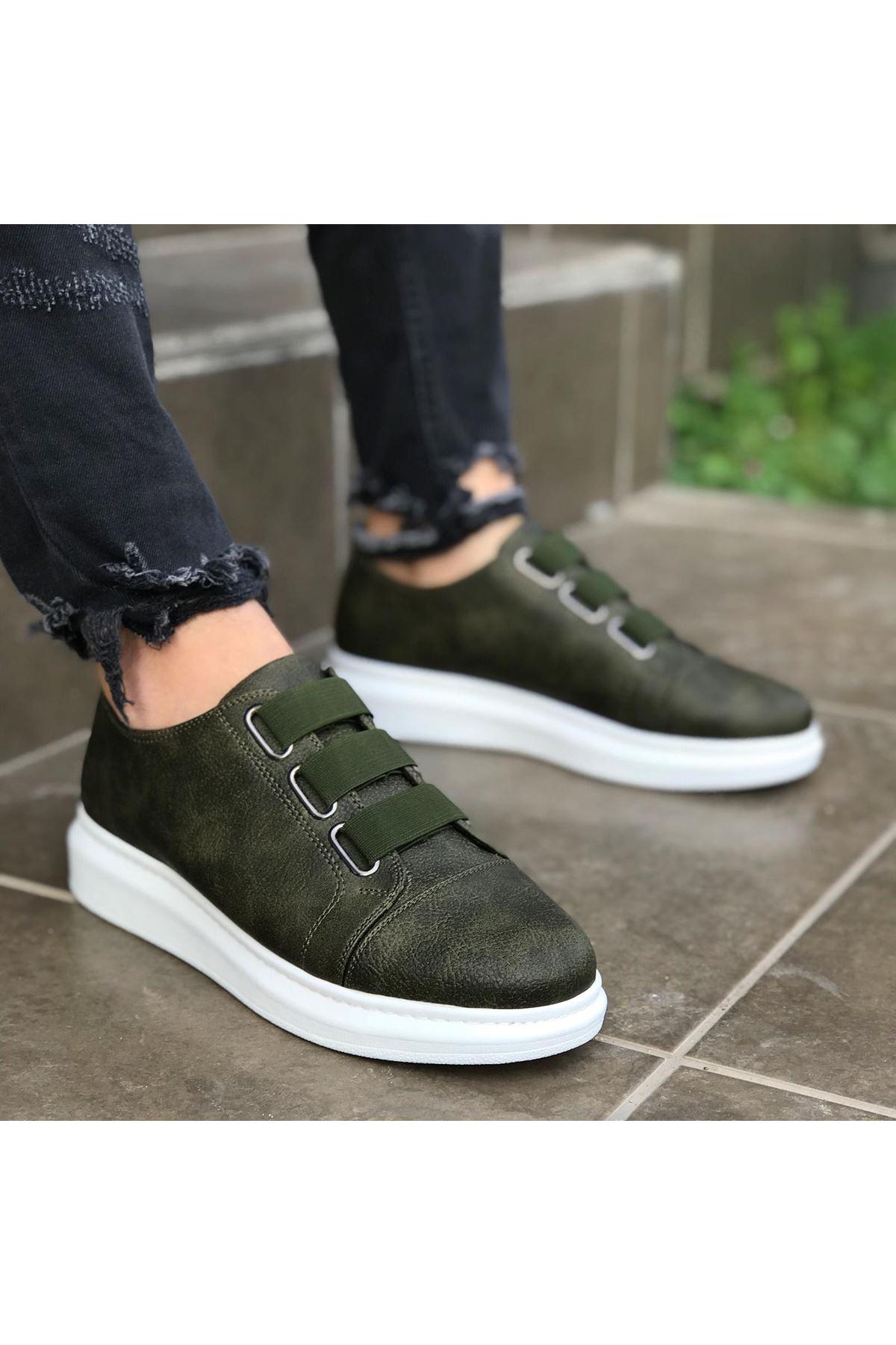 Wagoon WG026 Haki Kalın Taban Casual Erkek Ayakkabı