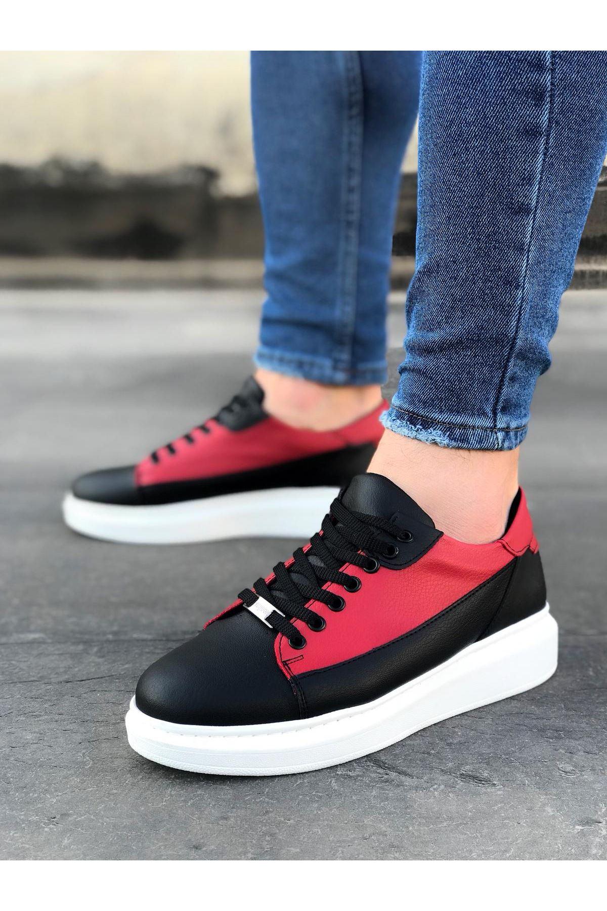 Wagoon WG028 Siyah Kırmızı Bağcıklı Kalın Taban Casual Erkek Ayakkabı