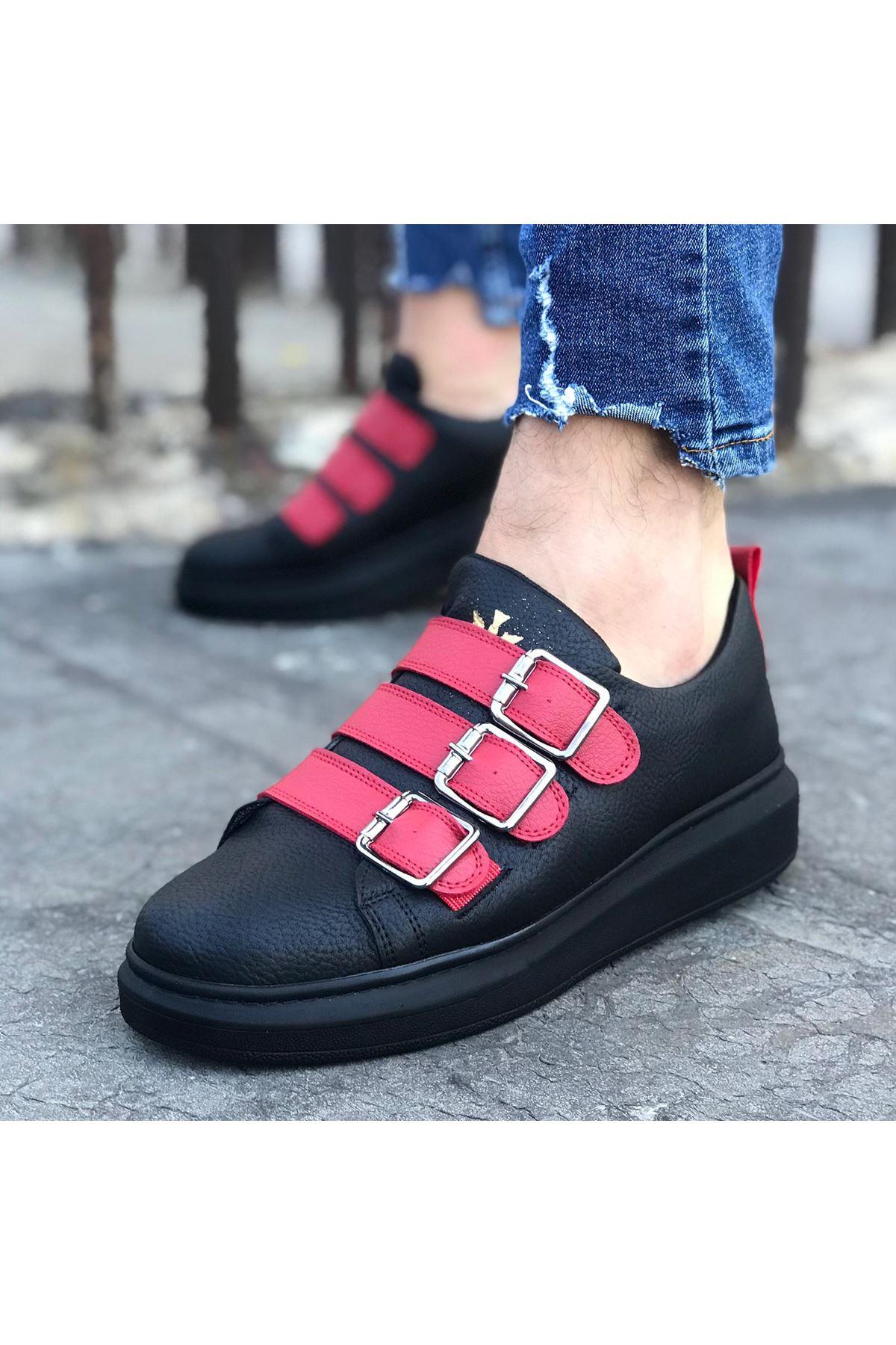 Wagoon WG050 Kömür Kırmızı Tokalı Kalın Taban Erkek Ayakkabı