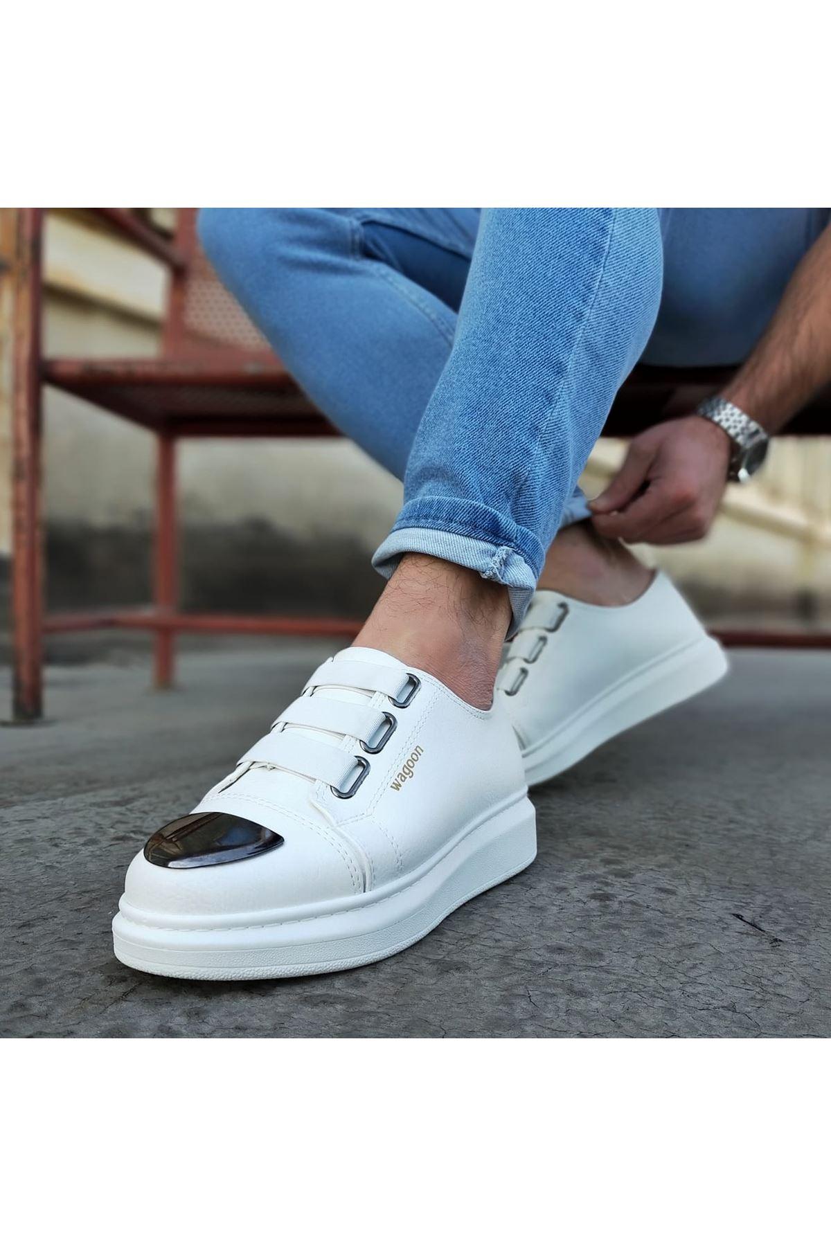 Wagoon WG026D Beyaz Kalın Taban Casual Erkek Ayakkabı