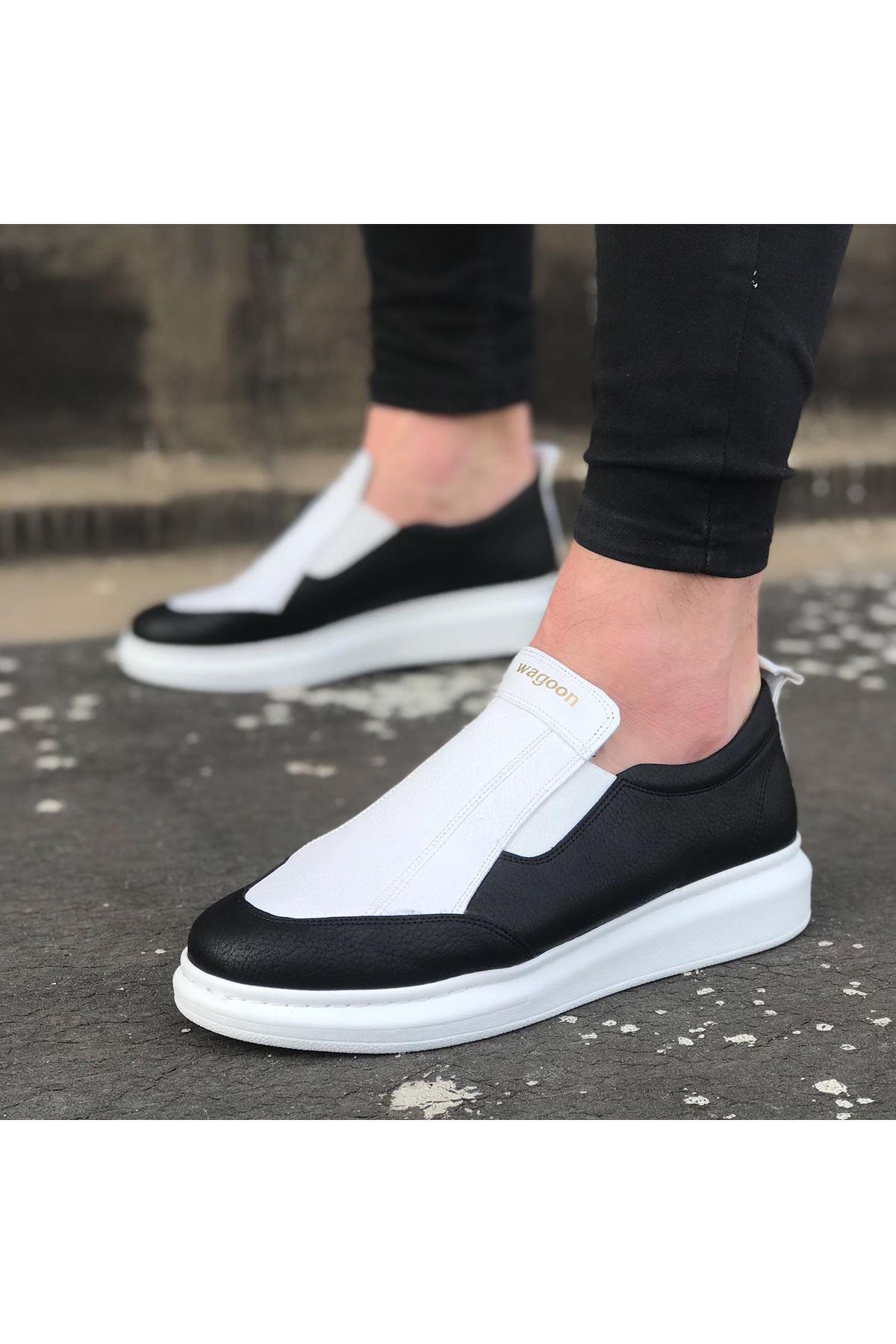 Wagoon WG049 Siyah Beyaz Yüksek Taban Casual Erkek Ayakkabı