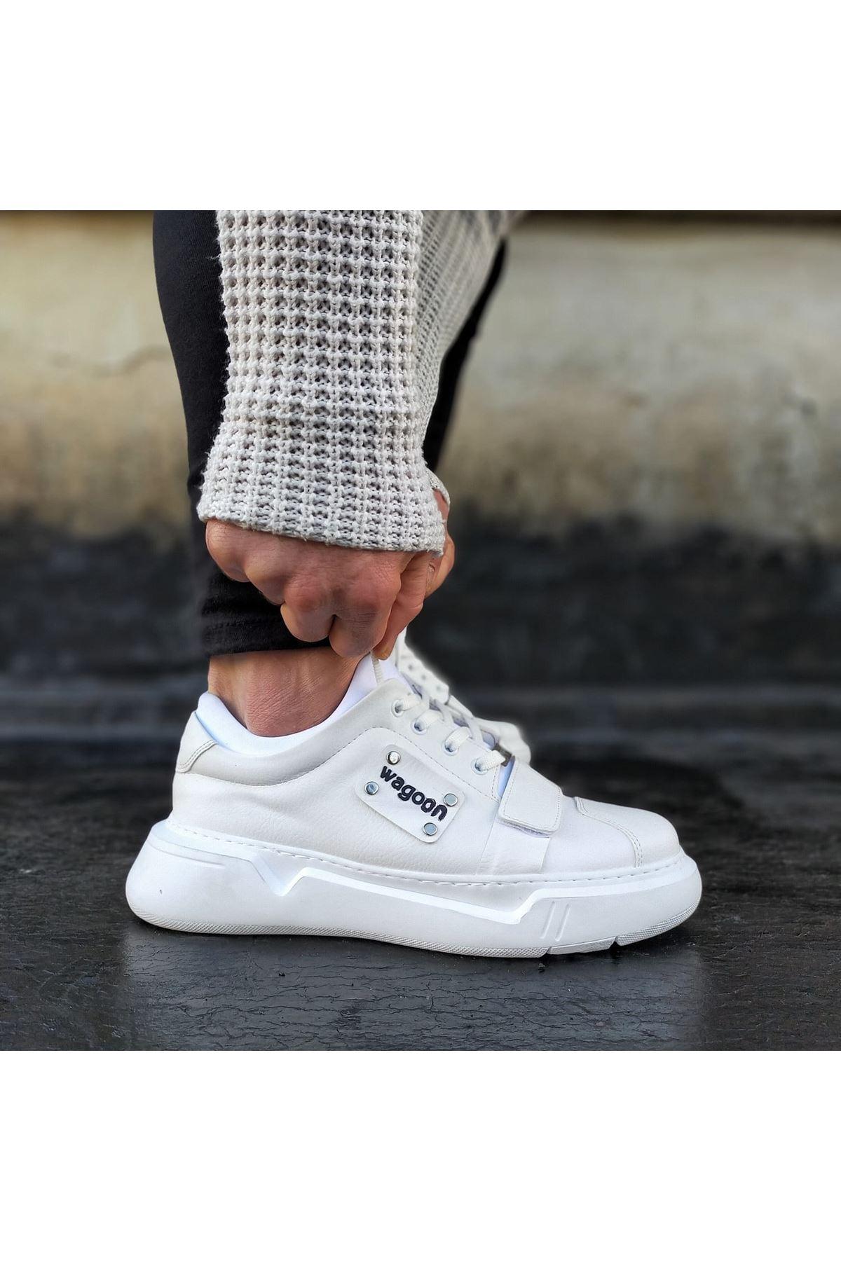Wagoon WG018 Beyaz Erkek Yüksek Taban  Ayakkabı