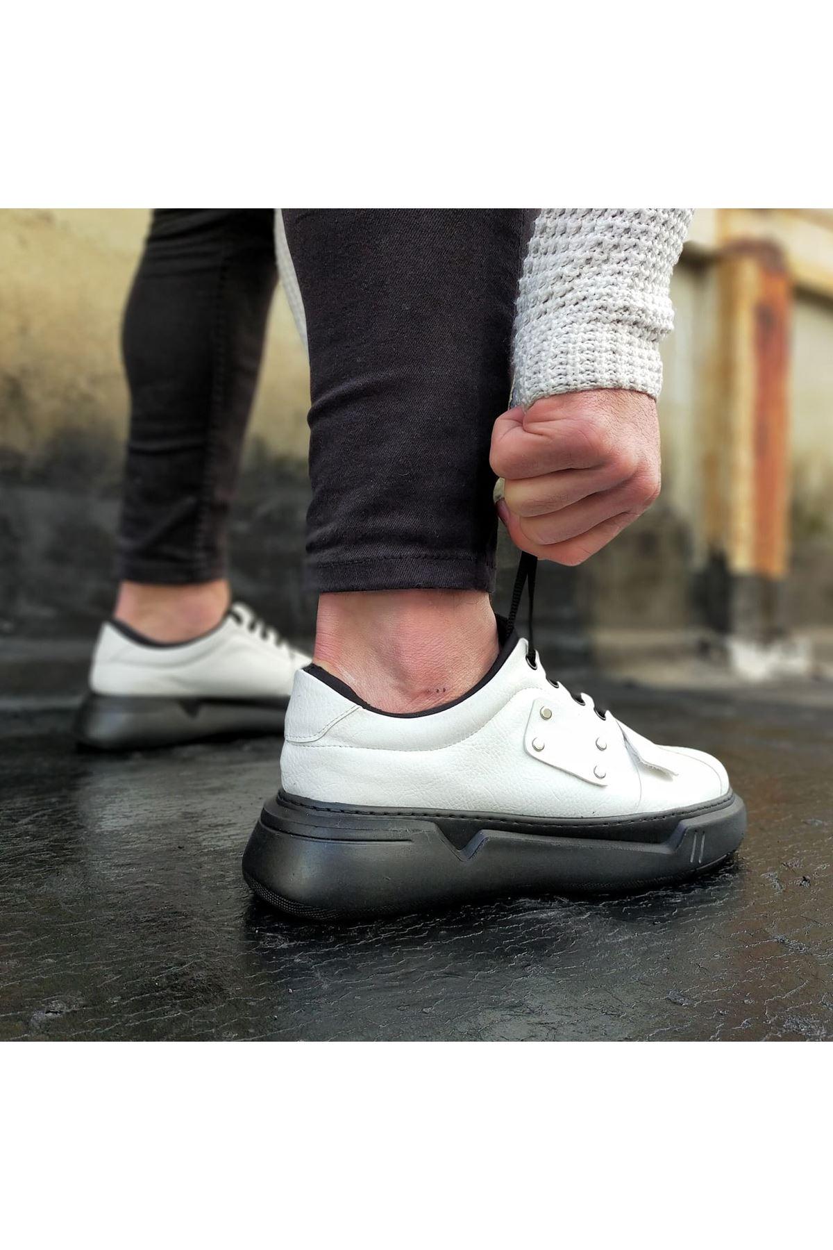 Wagoon WG018 Beyaz Kömür Erkek Yüksek Taban  Ayakkabı