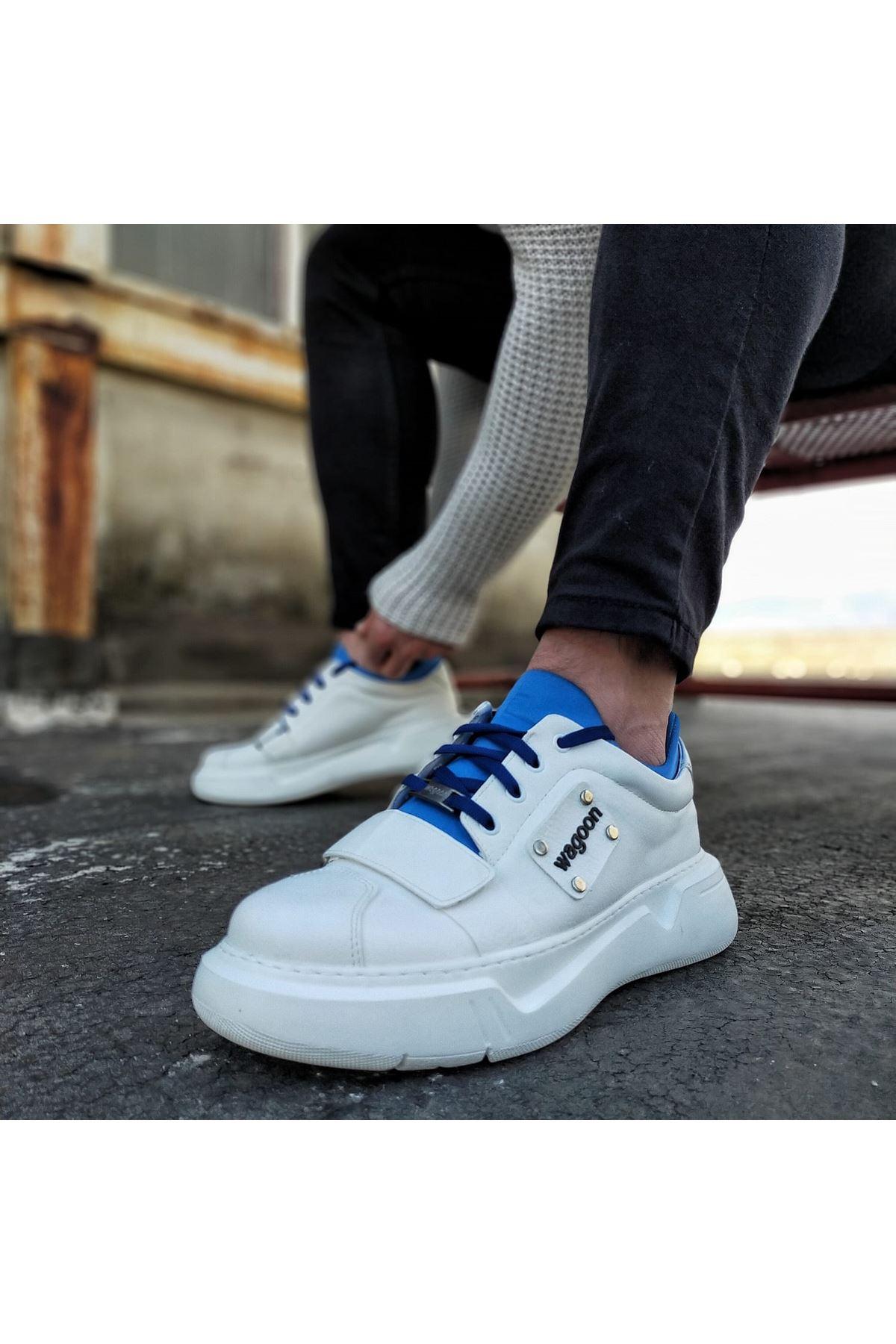 Wagoon WG018 Beyaz Saks Erkek Yüksek Taban  Ayakkabı