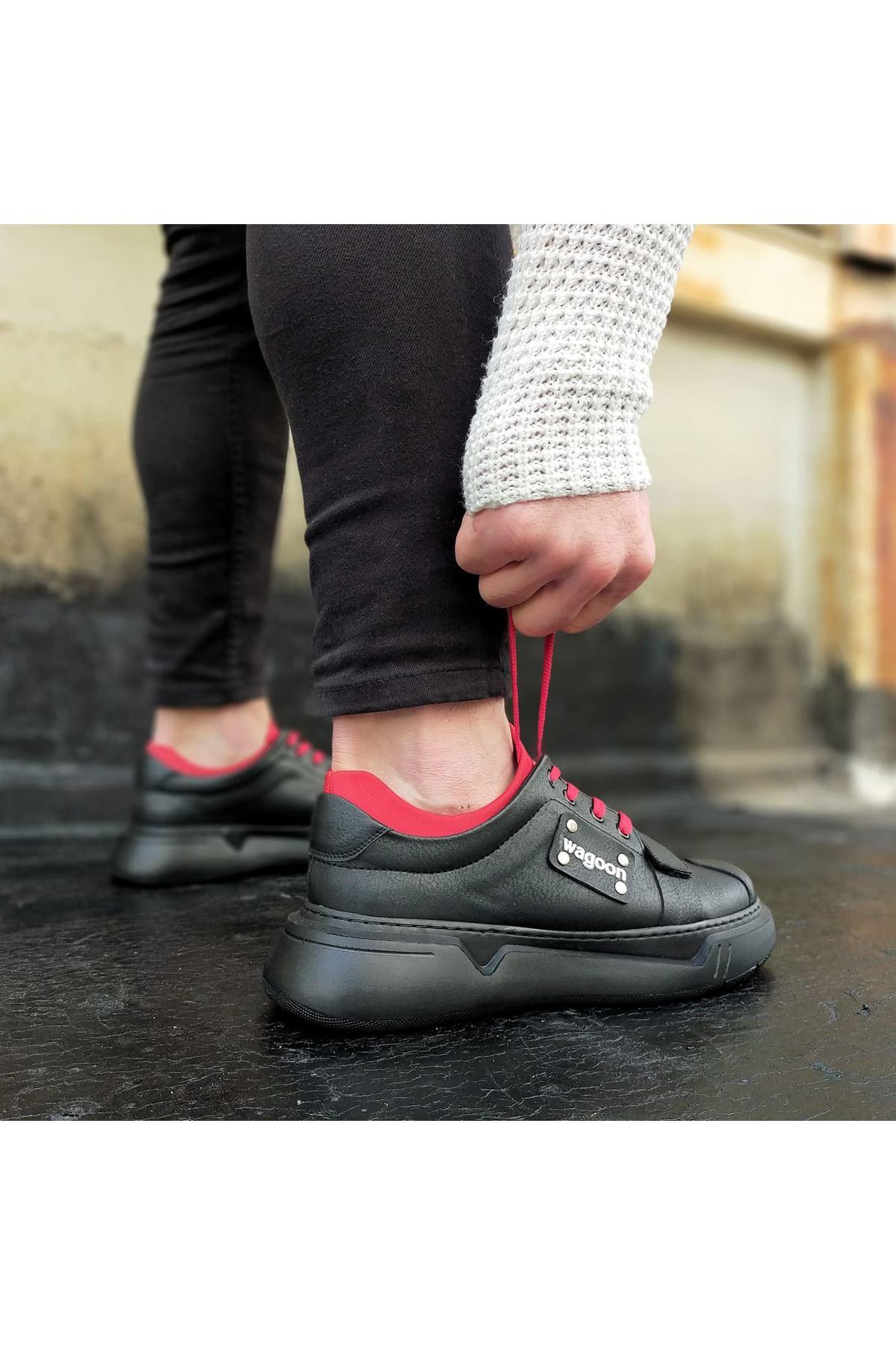 Wagoon WG018 Kömür Kırmızı  Erkek Yüksek Taban  Ayakkabı