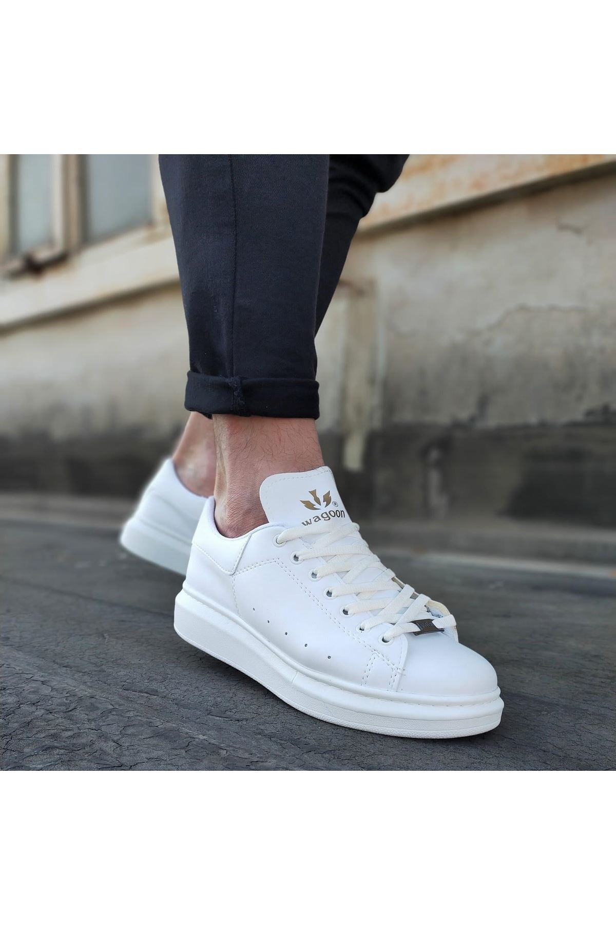 Wagoon WG501 Beyaz Erkek Yüksek Taban  Ayakkabı