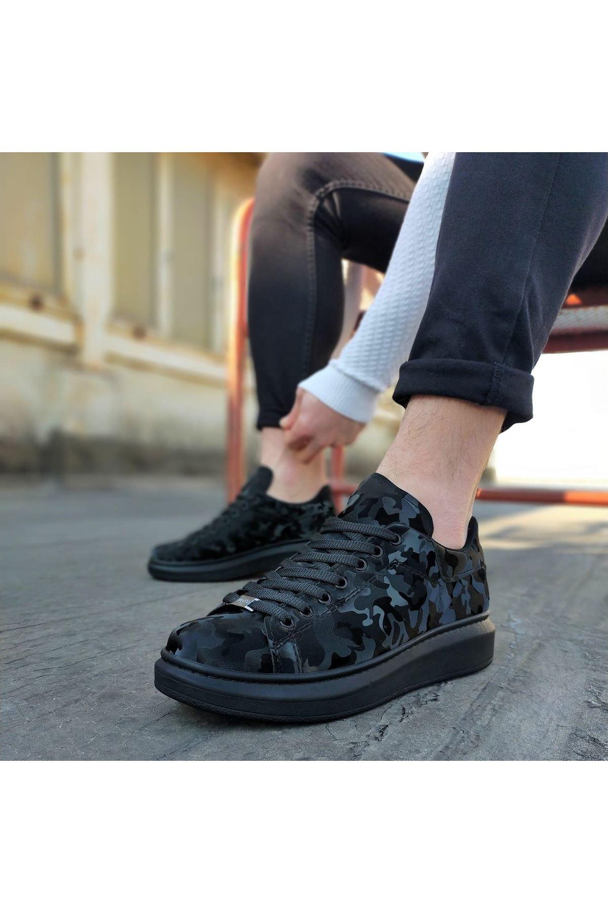Wagoon WG501 Kömür Hologram Erkek Yüksek Taban  Ayakkabı