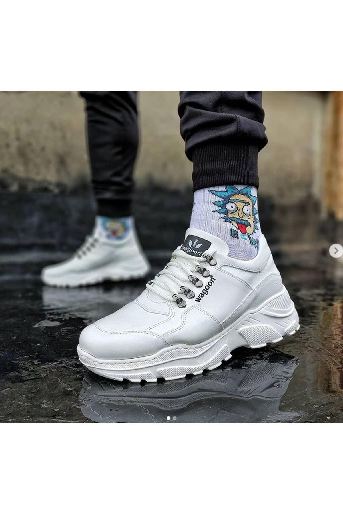 Wagoon WG019 Beyaz Erkek Yüksek Taban Ayakkabı