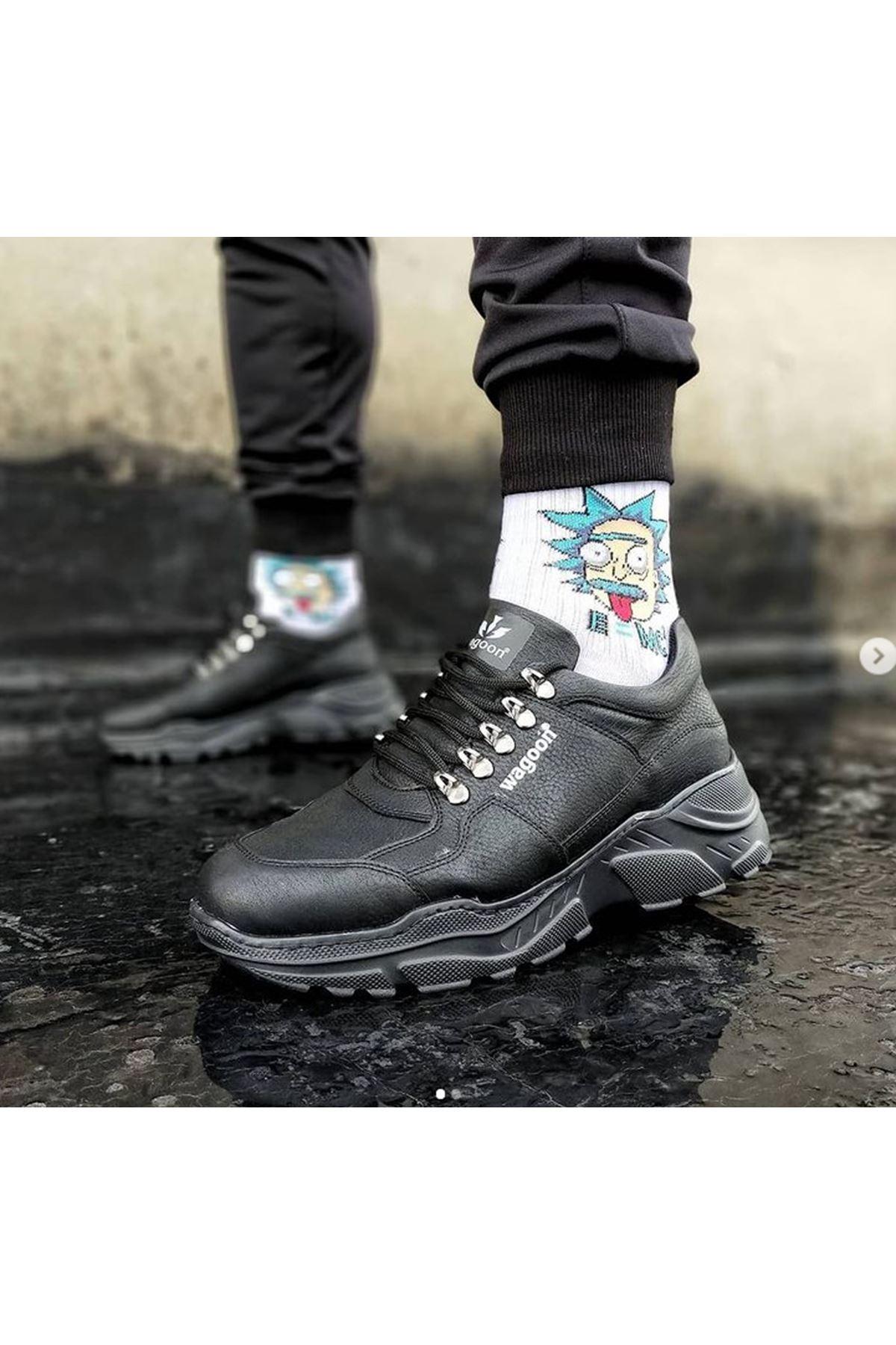 Wagoon WG019 Kömür Erkek Yüksek Taban Ayakkabı