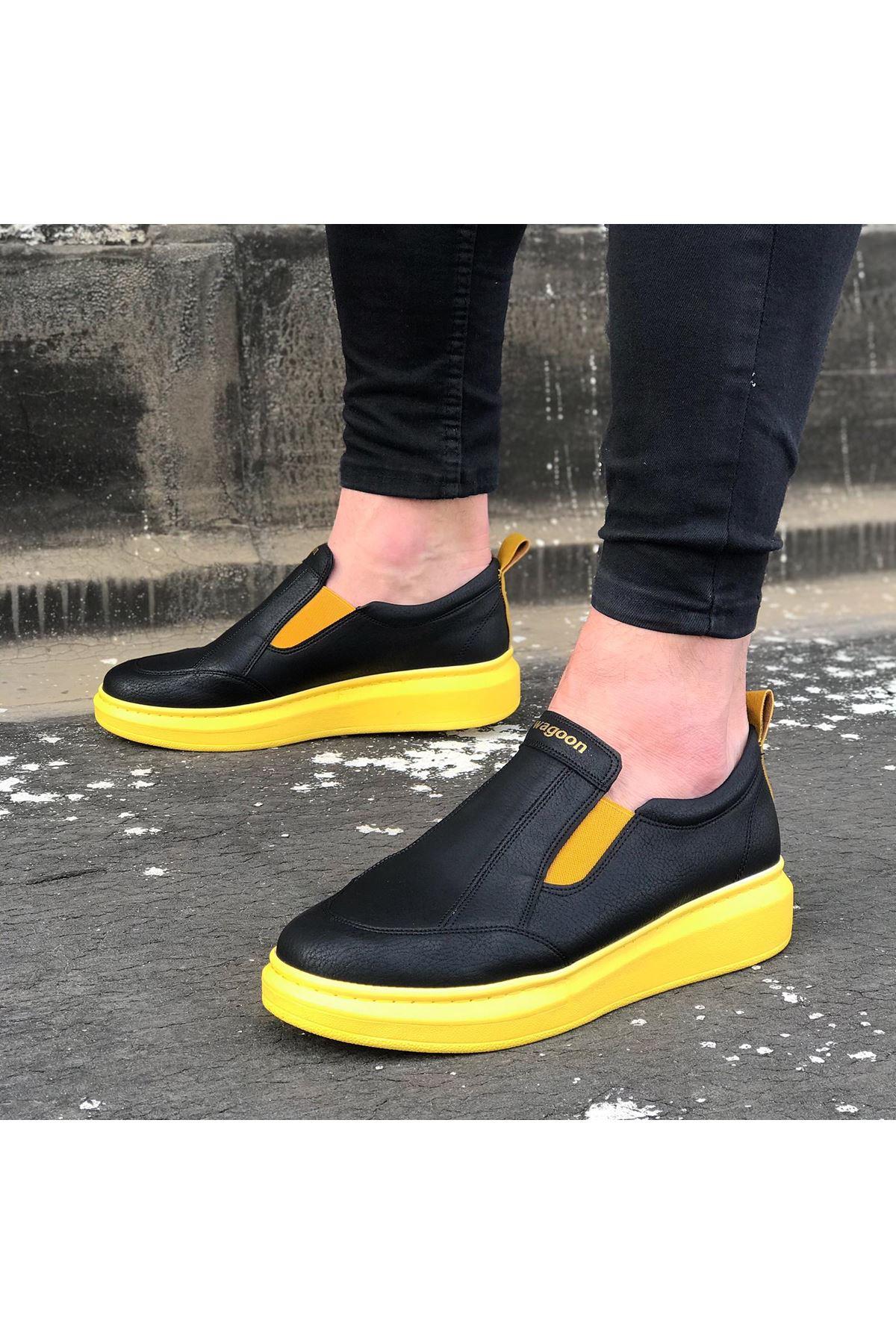 Wagoon WG049 Siyah Sarı Yüksek Taban Casual Erkek Ayakkabı