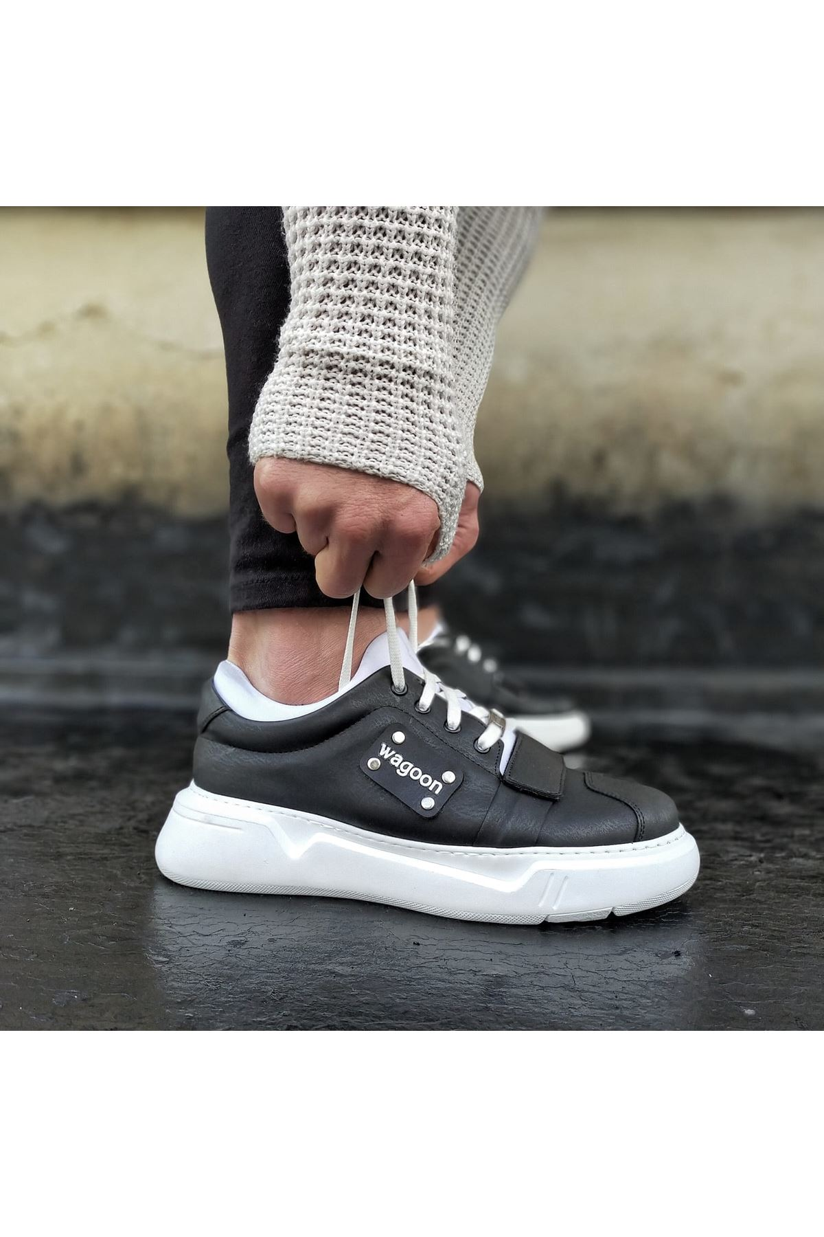 Wagoon WG018 Siyah Beyaz Erkek Yüksek Taban Ayakkabı