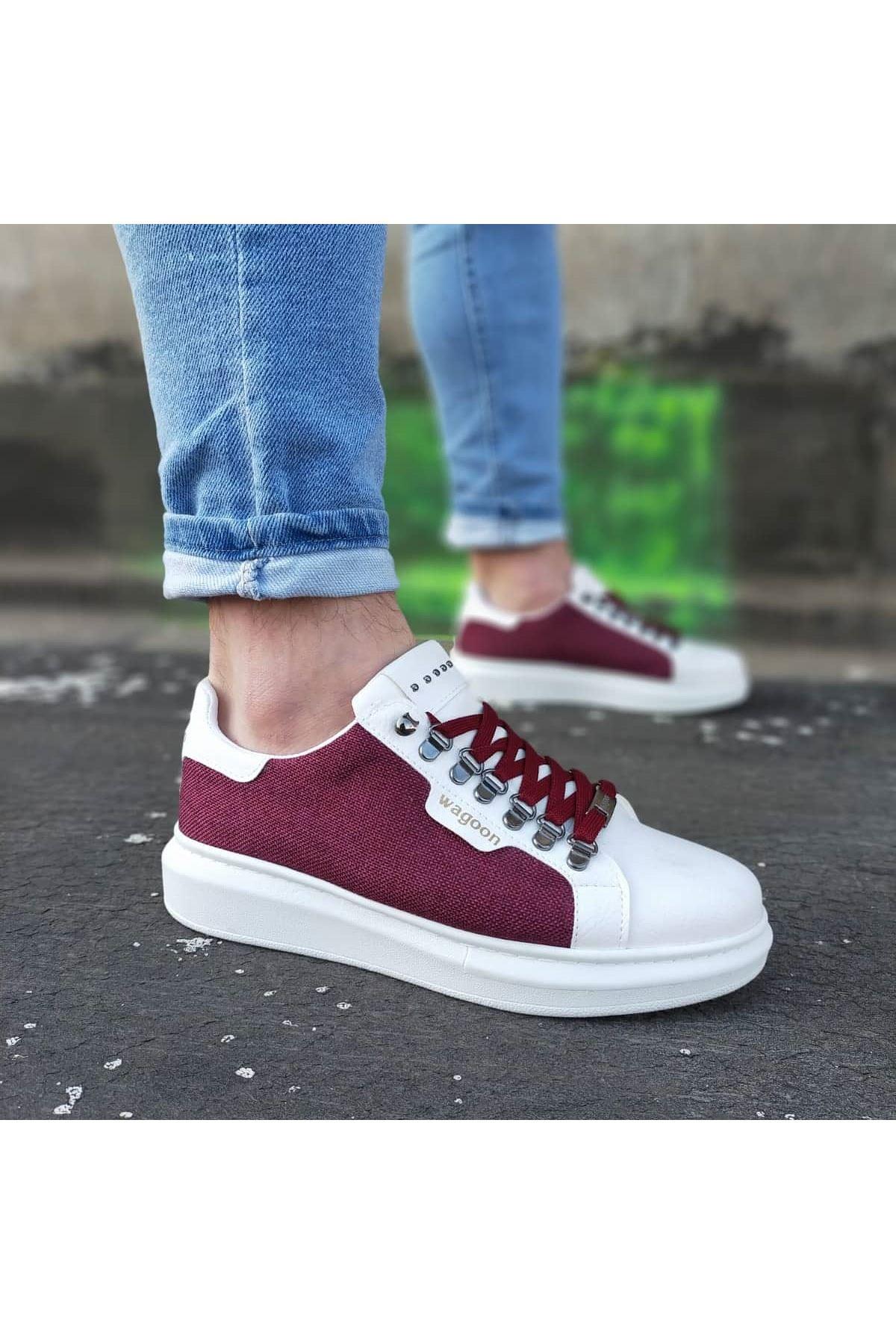 Wagoon WG01 Beyaz Bordo Keten Erkek Casual Ayakkabı