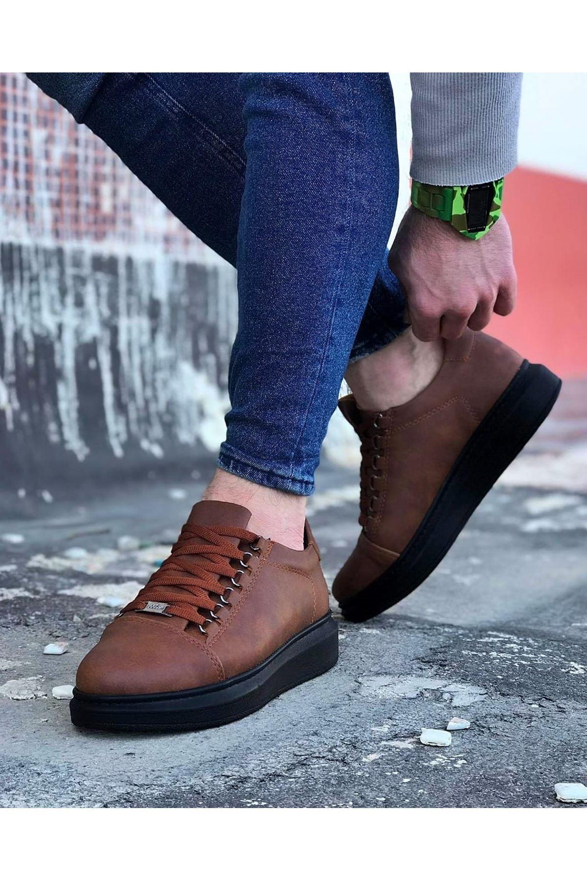 Wagoon WG08 Taba Kömür Düz Erkek Casual Ayakkabı
