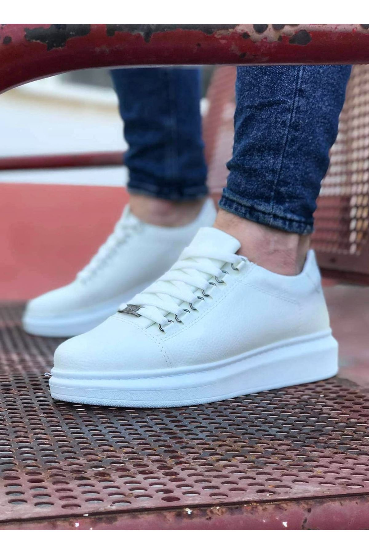 Wagoon WG08 Beyaz Düz Erkek Casual Ayakkabı