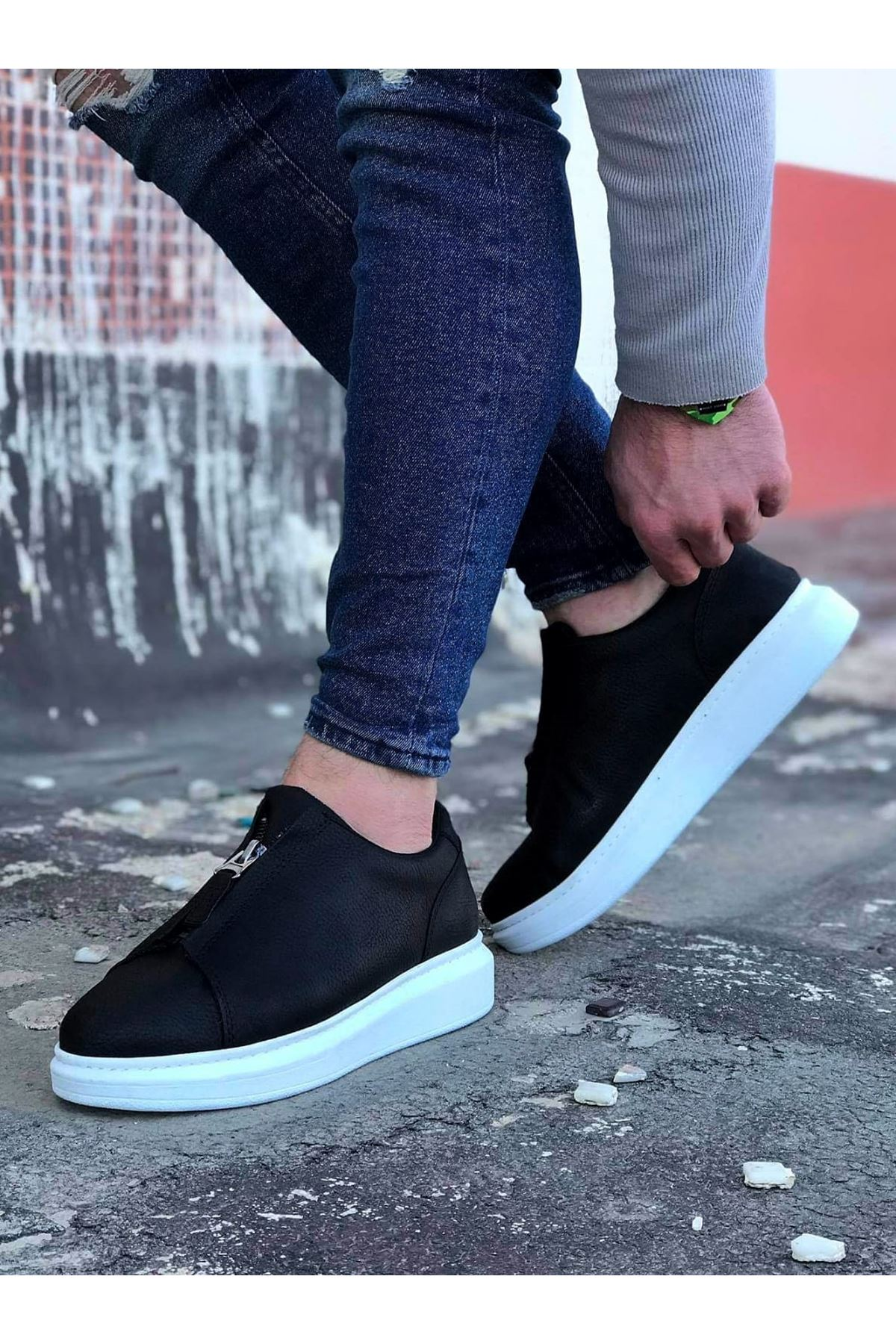 Wagoon WG010 Siyah Cilt Erkek Casual Ayakkabı