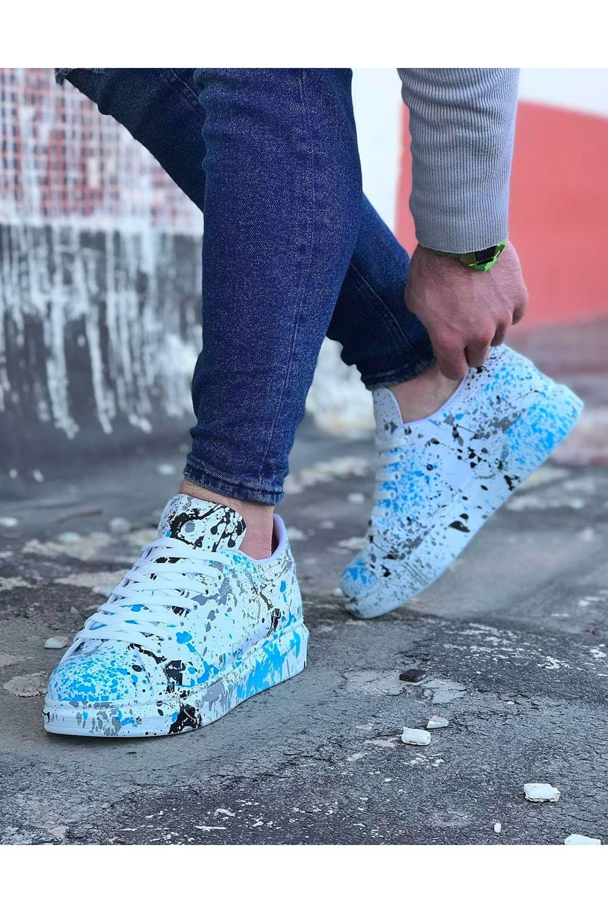 Wagoon WG501 Mavi Boyalı Erkek Casual Ayakkabı