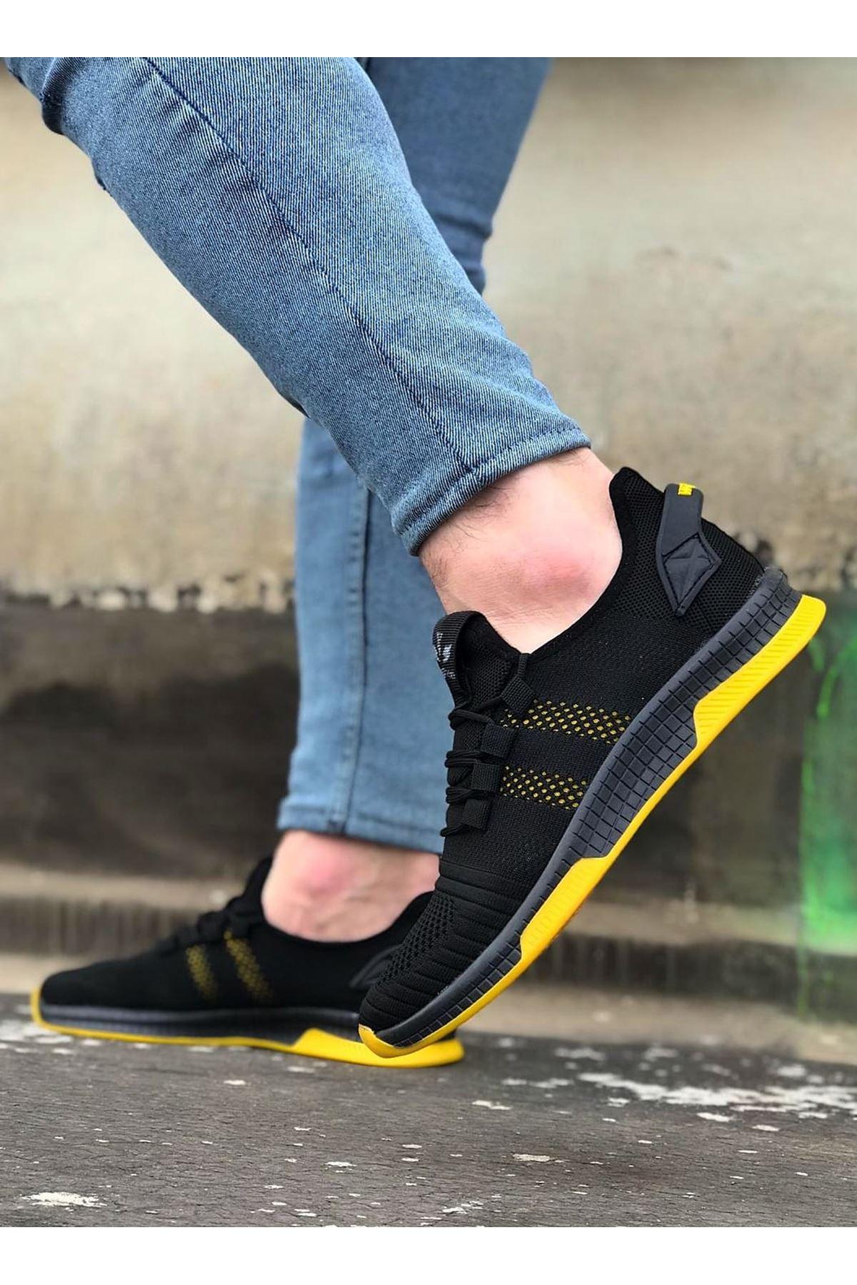 Wagoon WG101 Siyah Sarı Erkek Spor Ayakkabı