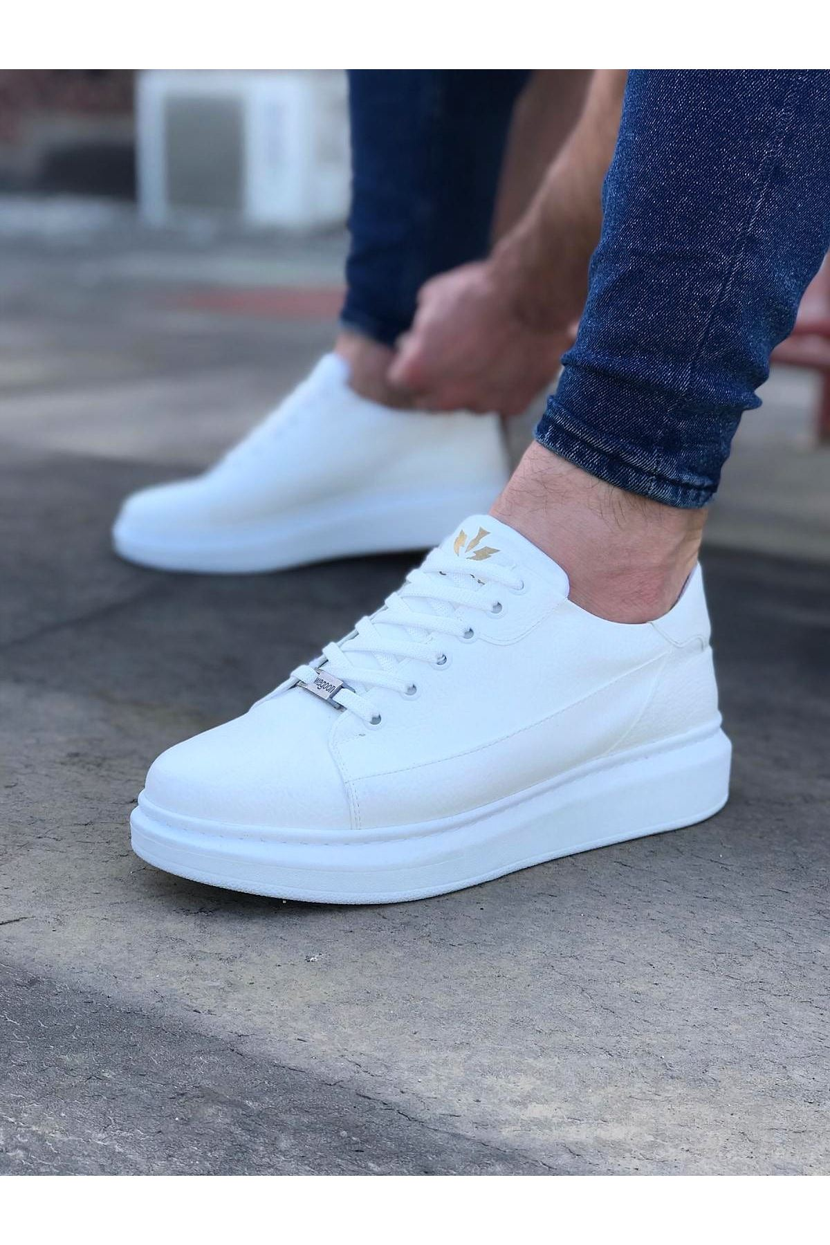 Wagoon WG028 Beyaz Bağcıklı Kalın Taban Casual Erkek Ayakkabı