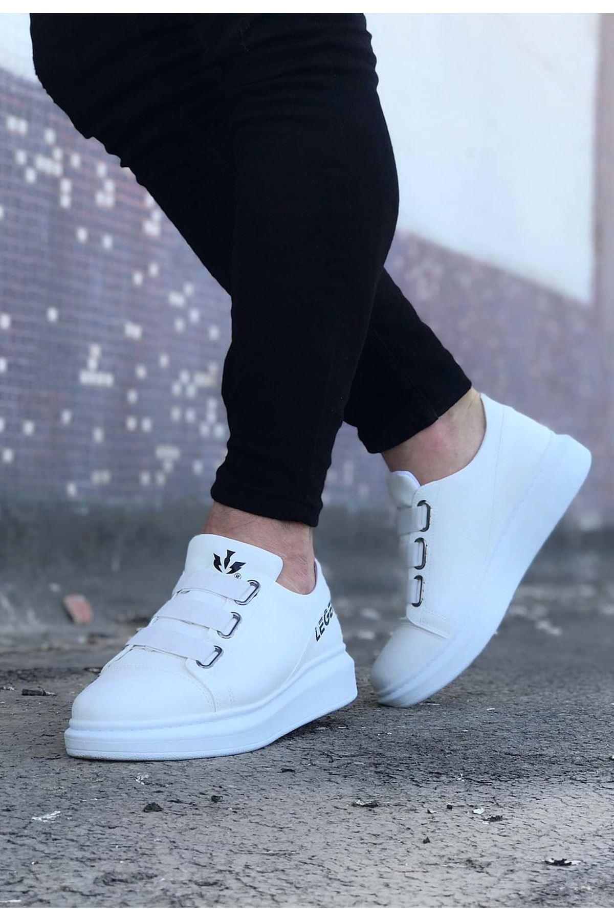 Wagoon WG029 Beyaz Kalın Taban Casual Erkek Ayakkabı
