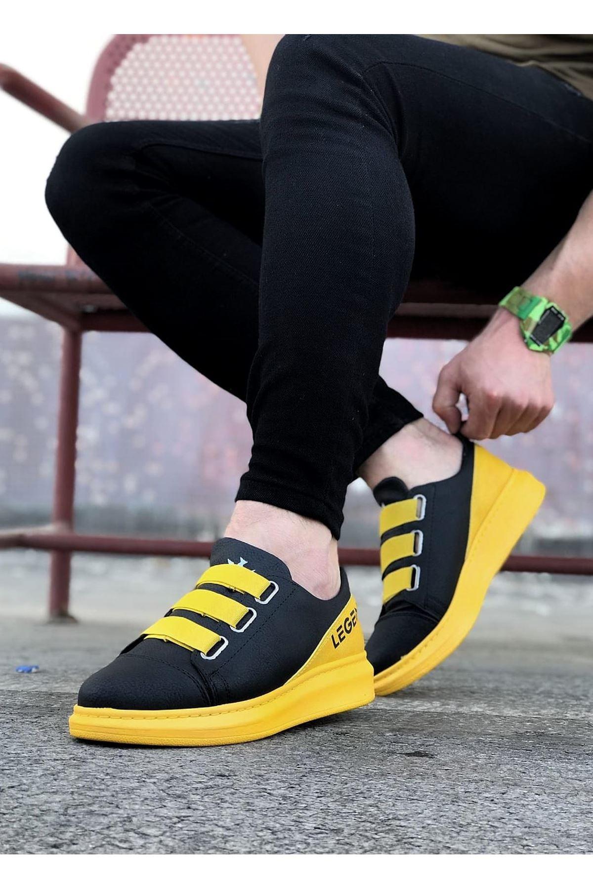 Wagoon WG029 Siyah Sarı Kalın Taban Casual Erkek Ayakkabı