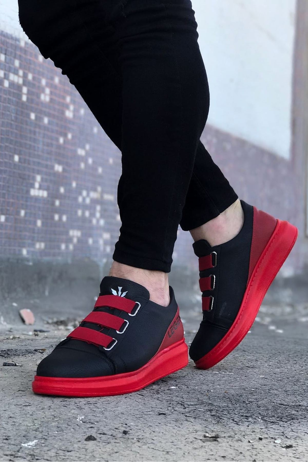 Wagoon WG029 Siyah Kırmızı Kalın Taban Casual Erkek Ayakkabı