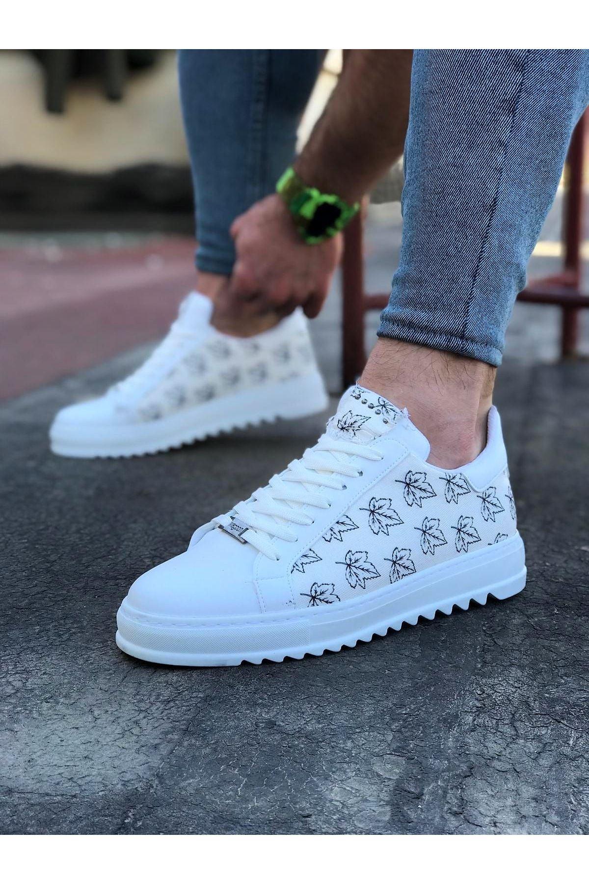 Wagoon WG01 Beyaz Yaprak Baskılı Erkek Casual Ayakkabı