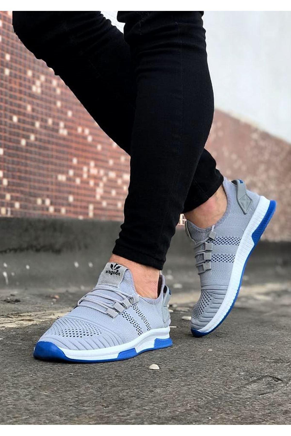 Wagoon WG101 Gri Mavi Erkek Spor Ayakkabı