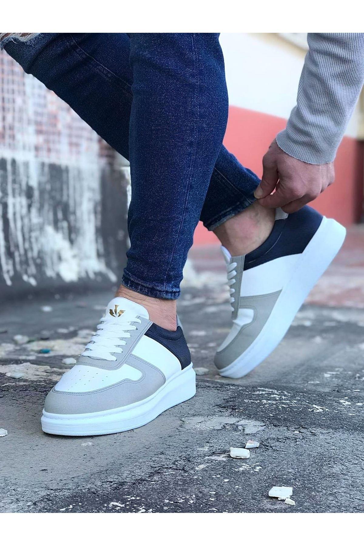 Wagoon WG011 Beyaz Lacivert Erkek Casual Ayakkabı