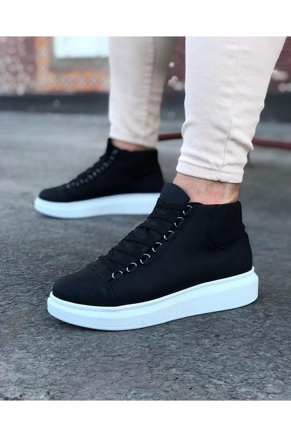 Wagoon WG032 Siyah Bağcıklı Sneakers  Yarım Bilek Bot