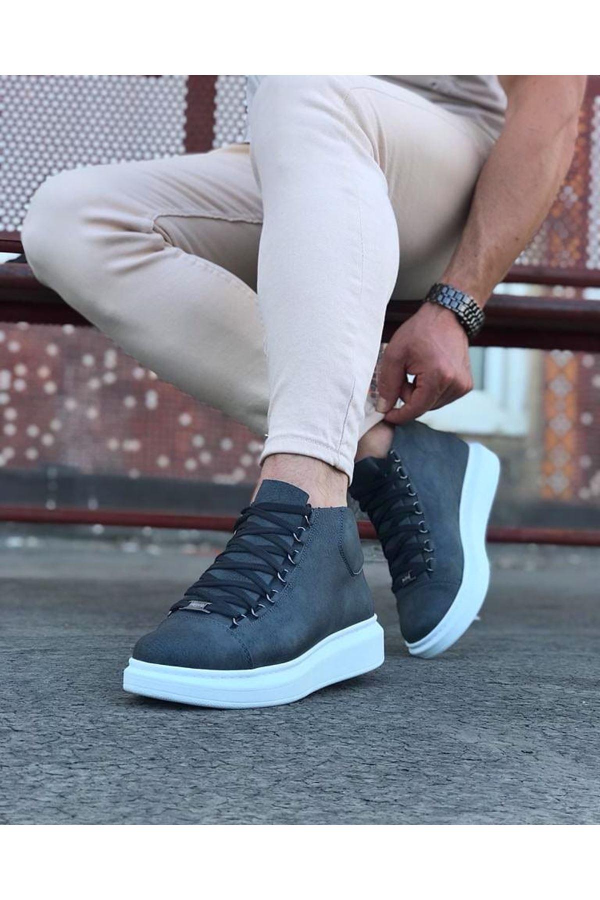 Wagoon WG032 Gri Bağcıklı Sneakers  Yarım Bilek Bot
