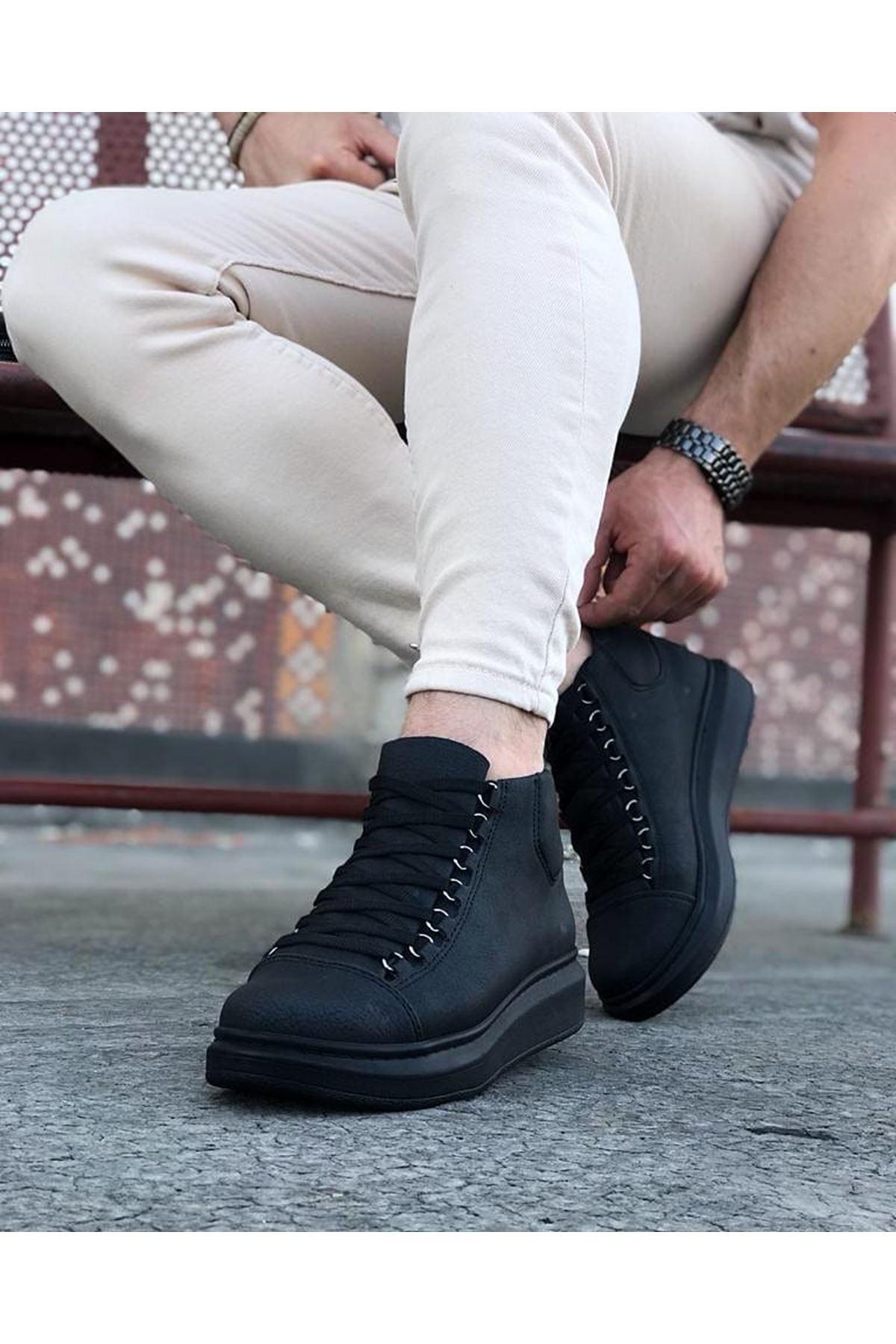 Wagoon WG032 Kömür Bağcıklı Sneakers  Yarım Bilek Bot