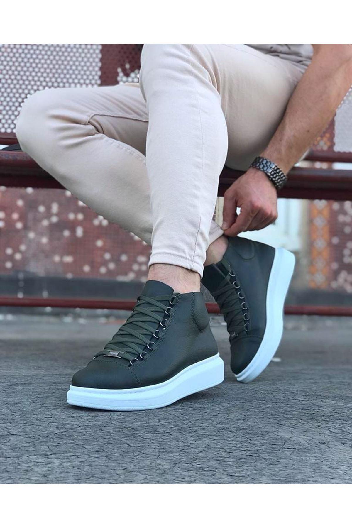 Wagoon WG032 Haki Bağcıklı Sneakers  Yarım Bilek Bot