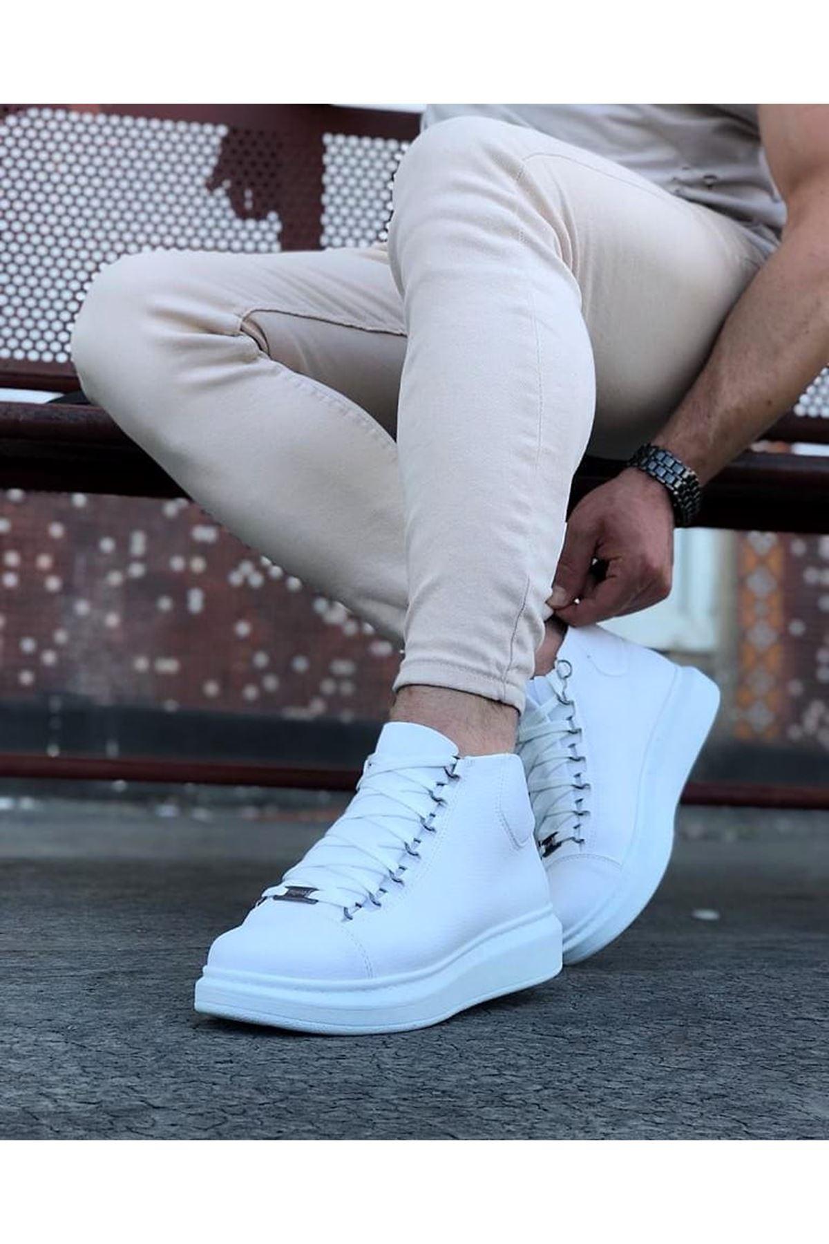 Wagoon WG032 Beyaz Bağcıklı Sneakers  Yarım Bilek Bot