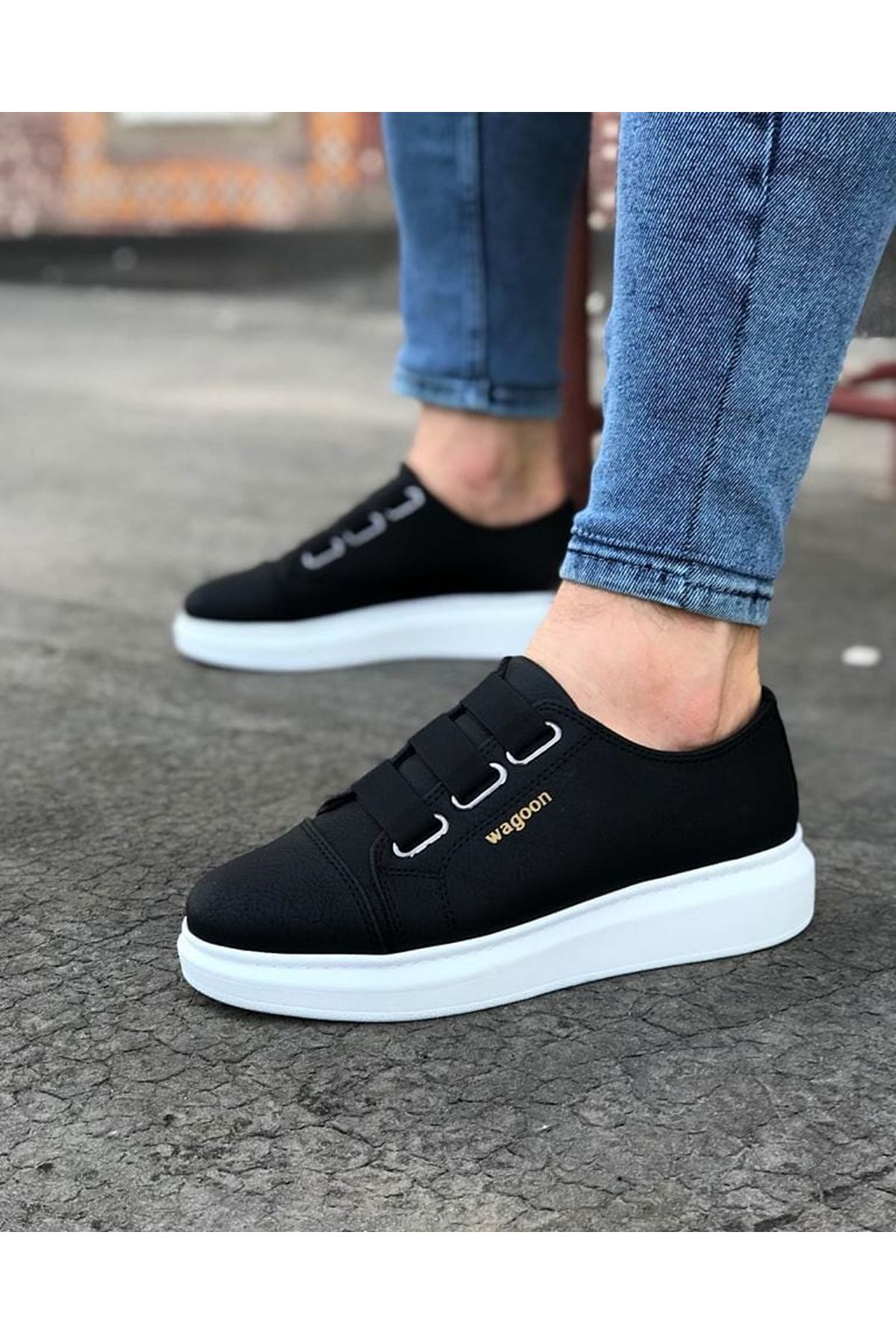 Wagoon WG026 Siyah Kalın Taban Casual Erkek Ayakkabı