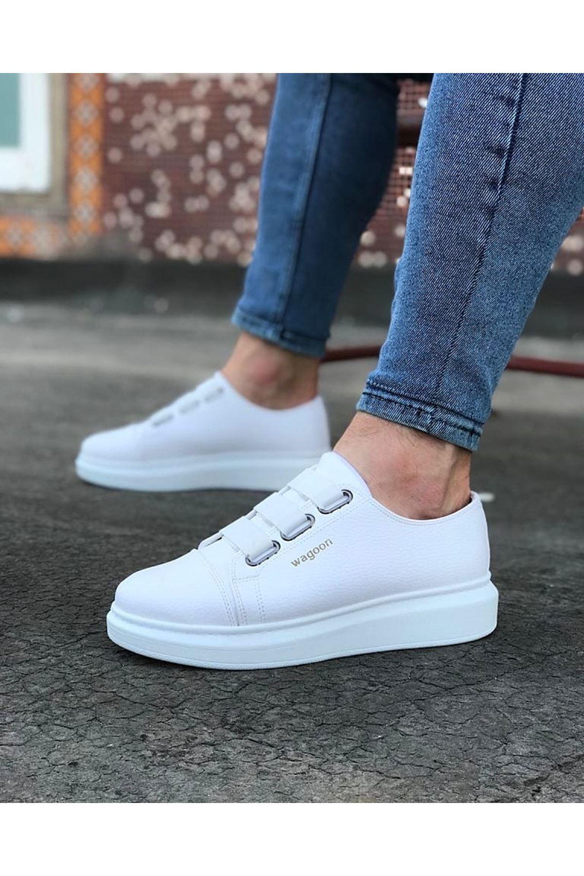 Wagoon WG026 Beyaz Kalın Taban Casual Erkek Ayakkabı