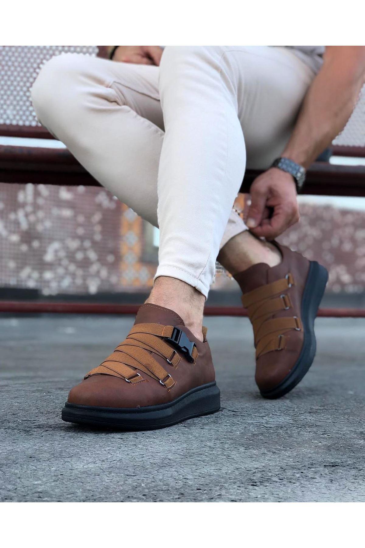 Wagoon WG033  Taba Siyah Erkek Yüksek Taban  Ayakkabı