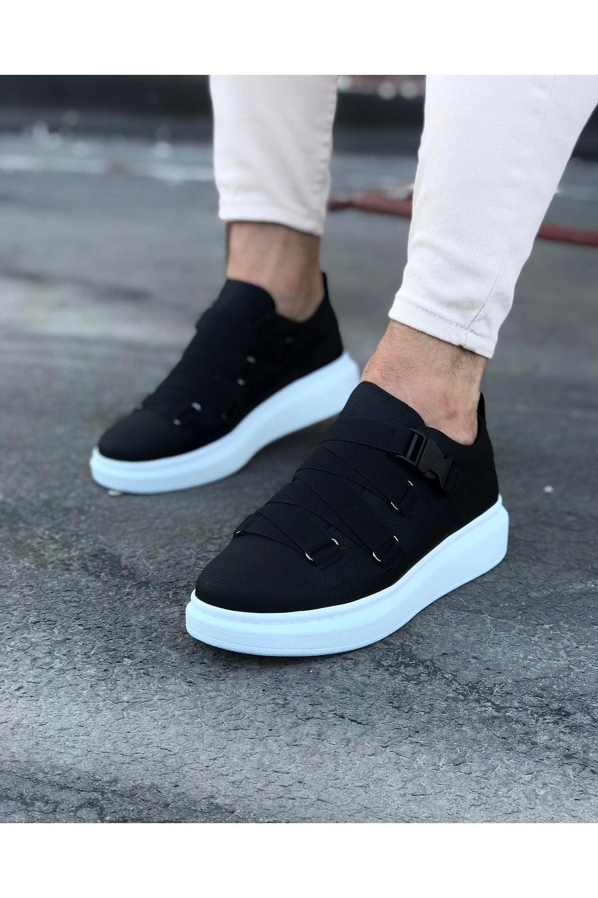 Wagoon WG033 Siyah Erkek Yüksek Taban  Ayakkabı