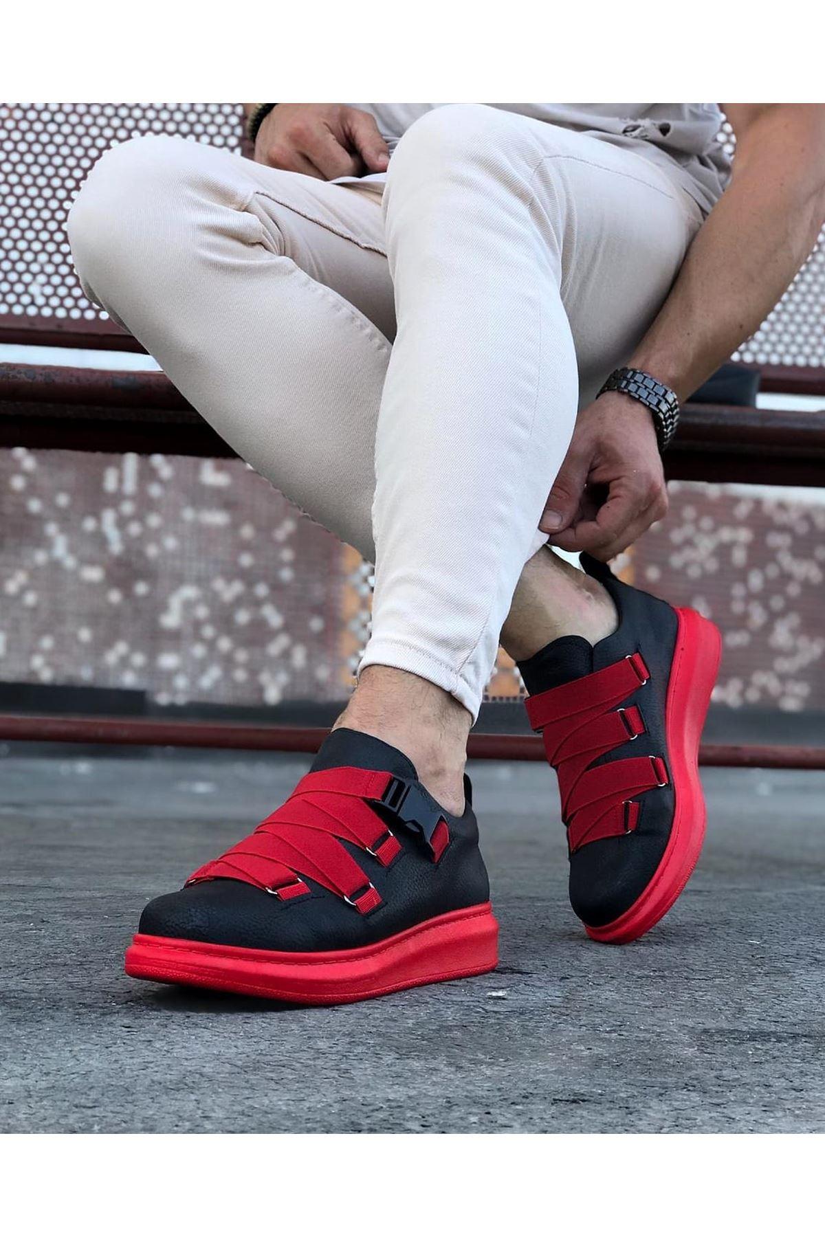 Wagoon WG033 Siyah Kırmızı Erkek Yüksek Taban  Ayakkabı