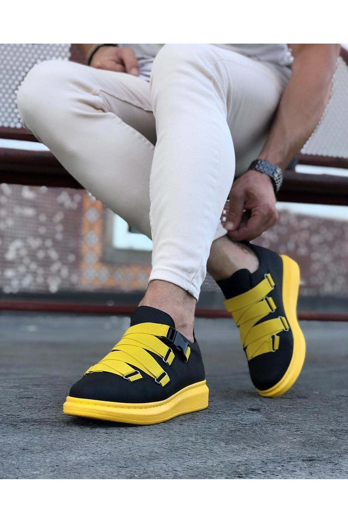 Wagoon WG033 Siyah Sarı  Erkek Yüksek Taban  Ayakkabı