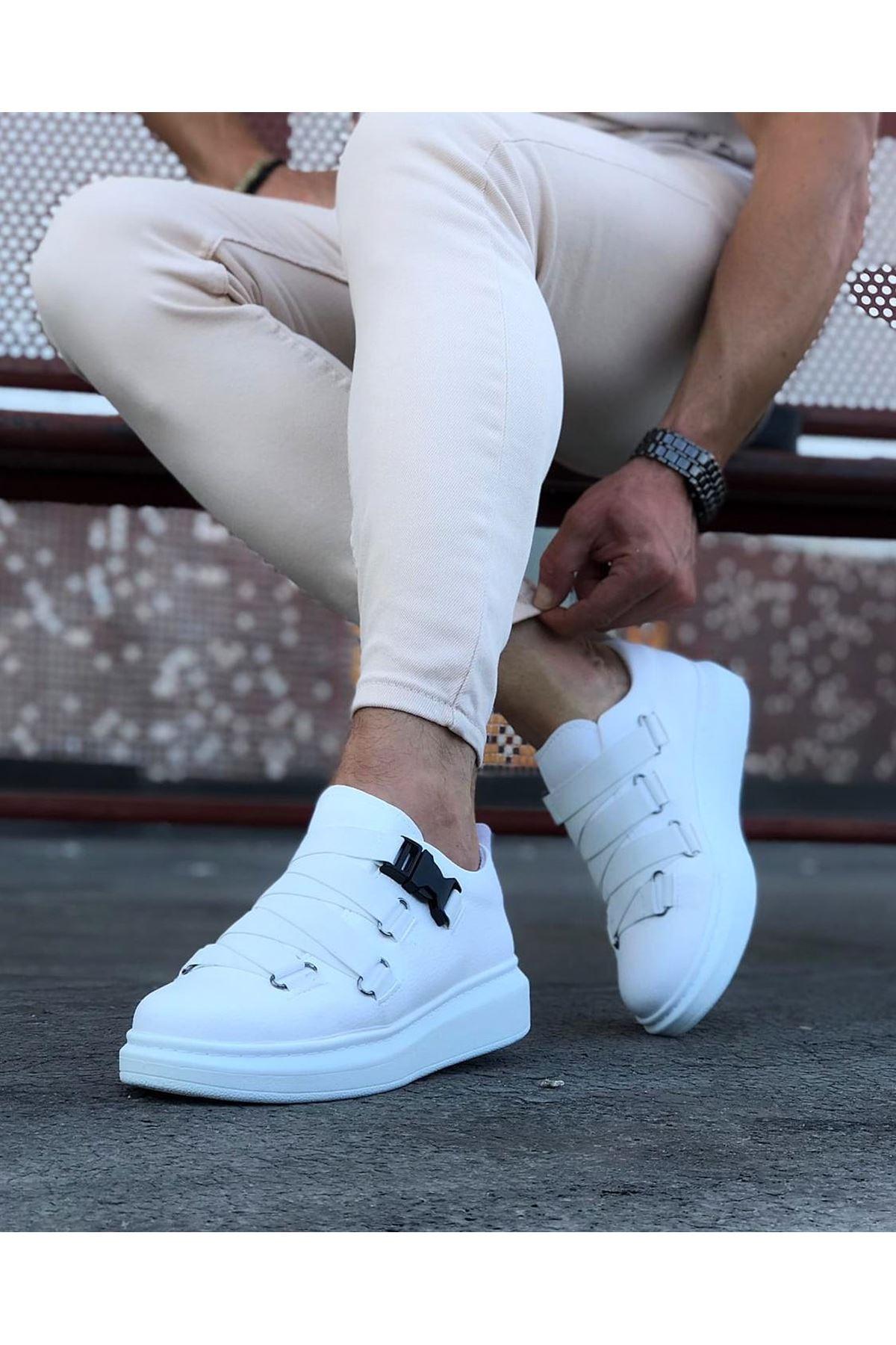 Wagoon WG033 Beyaz Erkek Yüksek Taban  Ayakkabı