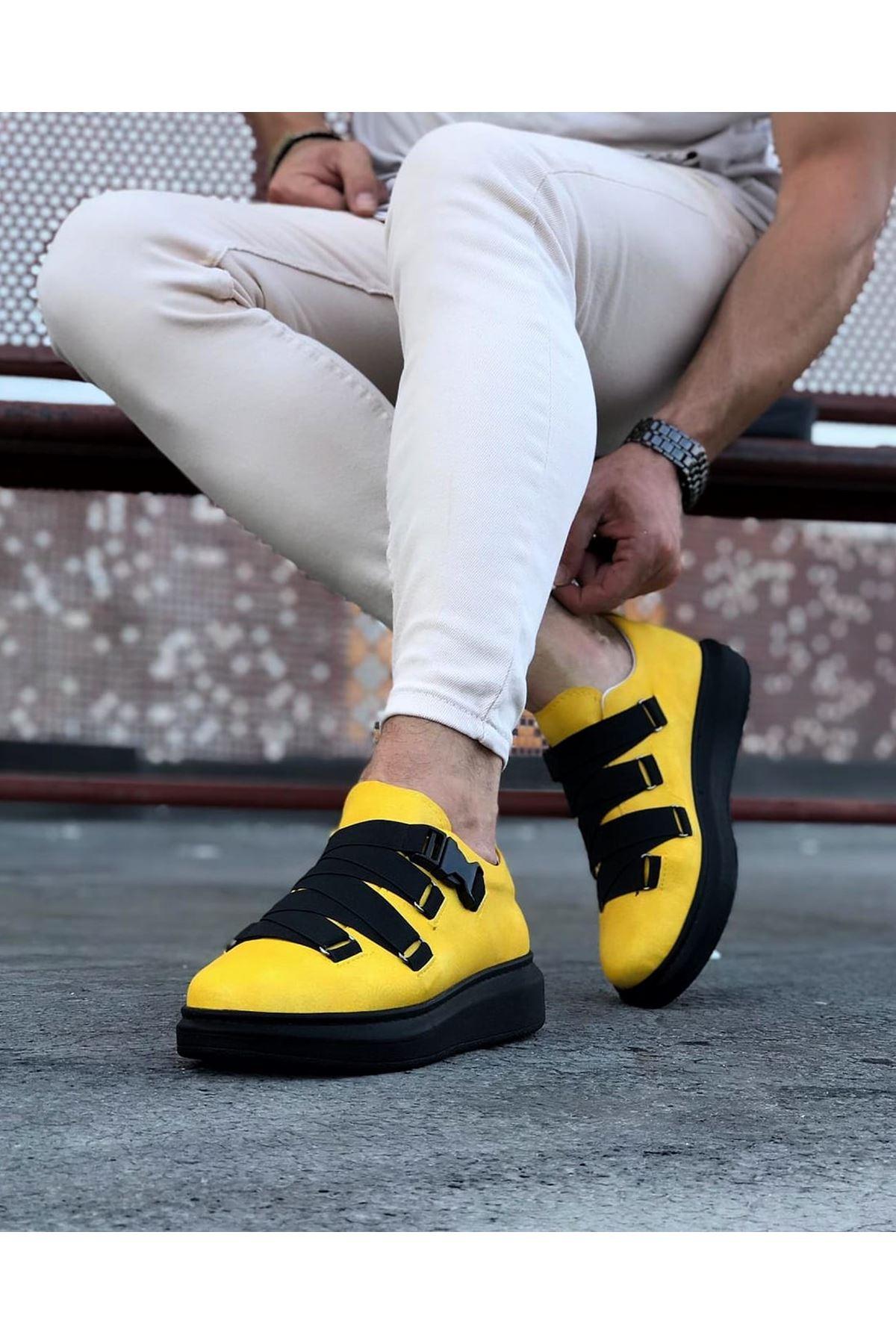 Wagoon WG033 Sarı Kömür Erkek Yüksek Taban  Ayakkabı