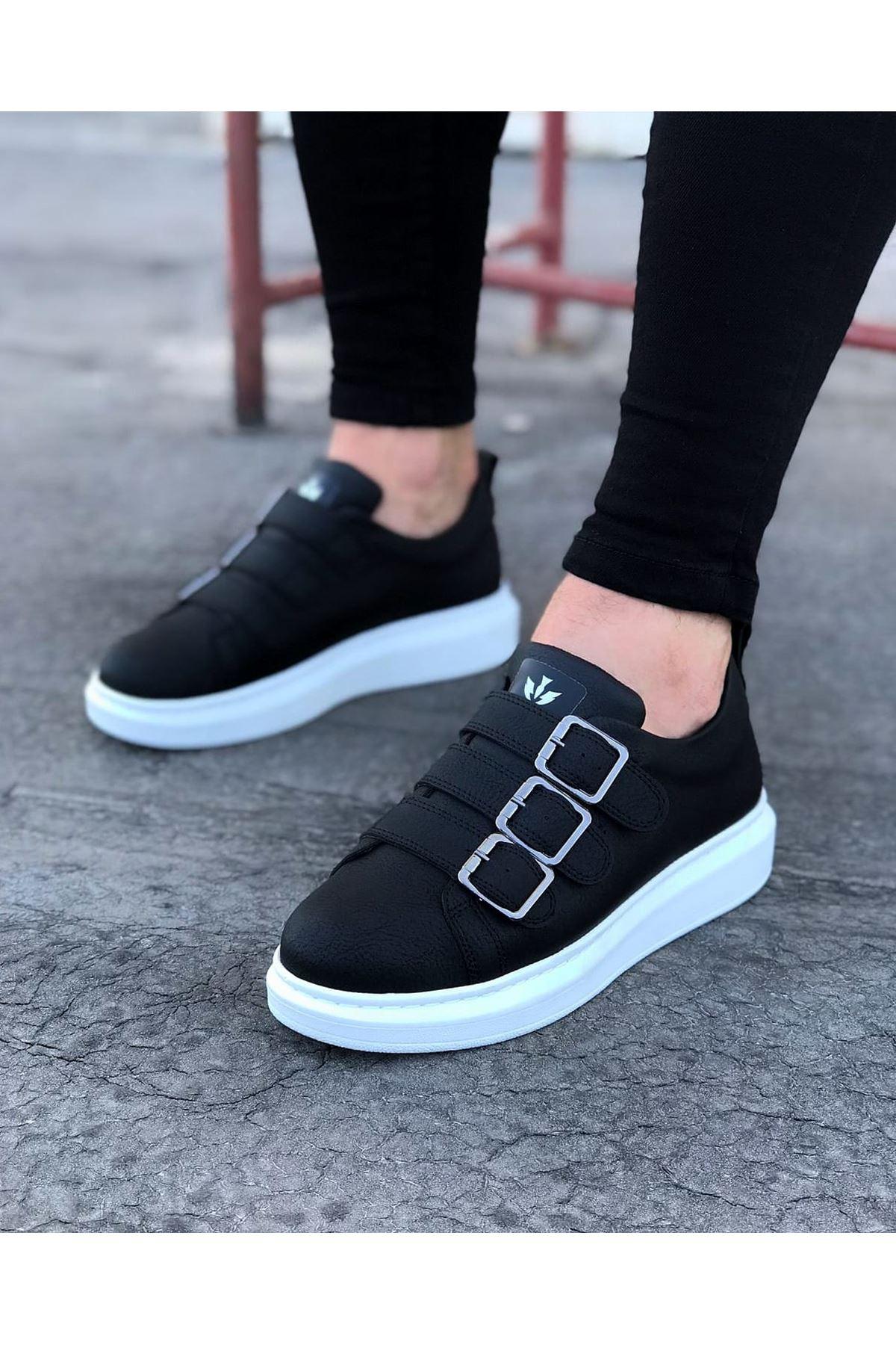 Wagoon WG050 Siyah Tokalı Kalın Taban Erkek Ayakkabı