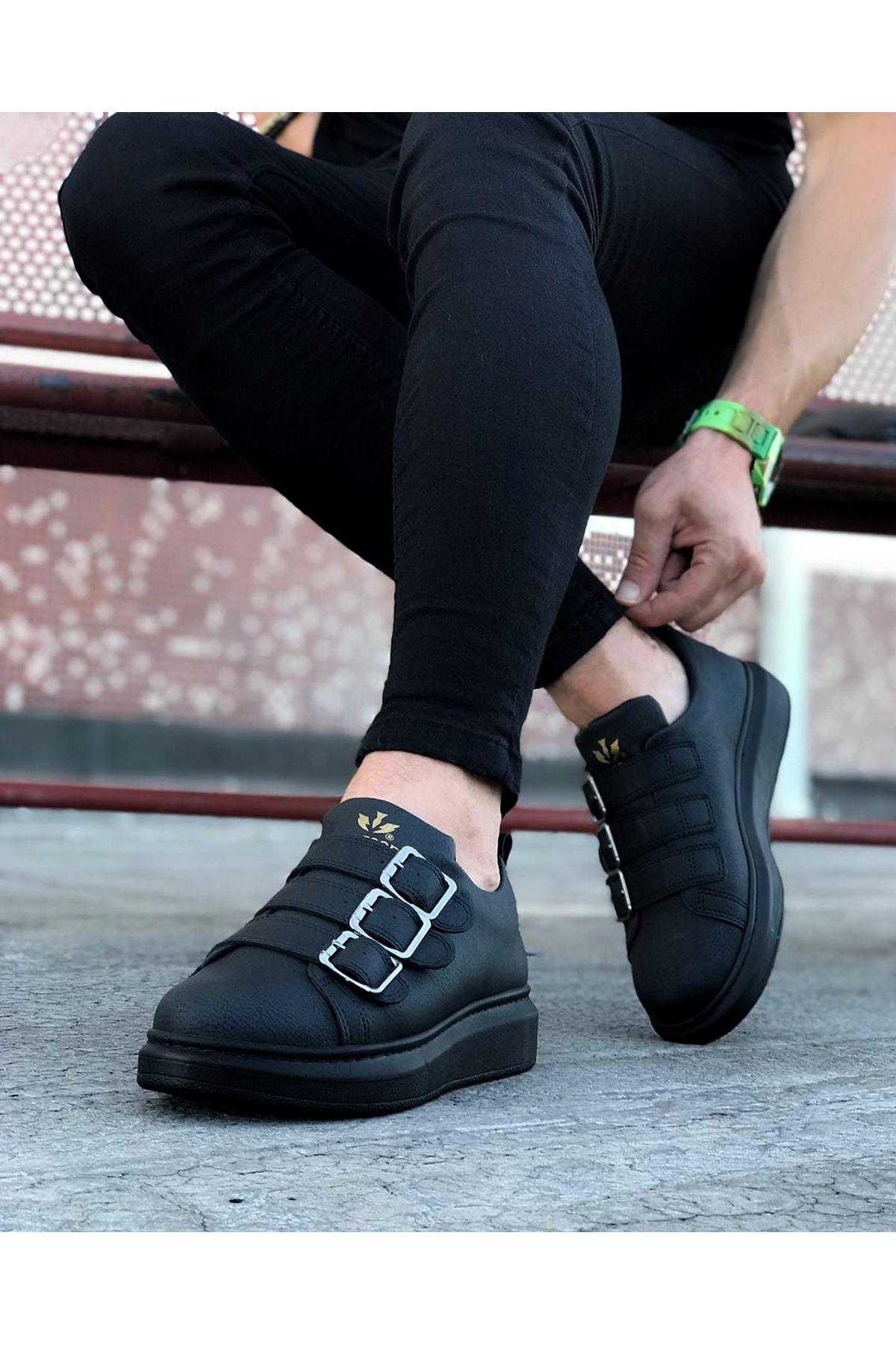 Wagoon WG050 Kömür Tokalı Kalın Taban Erkek Ayakkabı