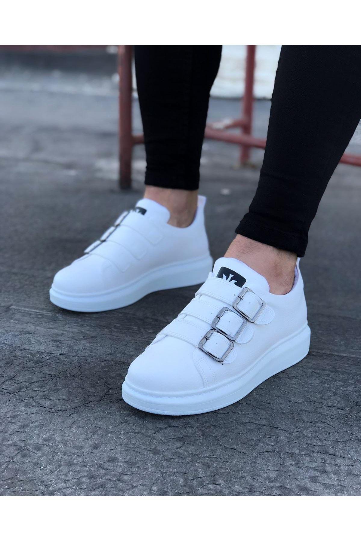 Wagoon WG050 Beyaz Tokalı Kalın Taban Erkek Ayakkabı