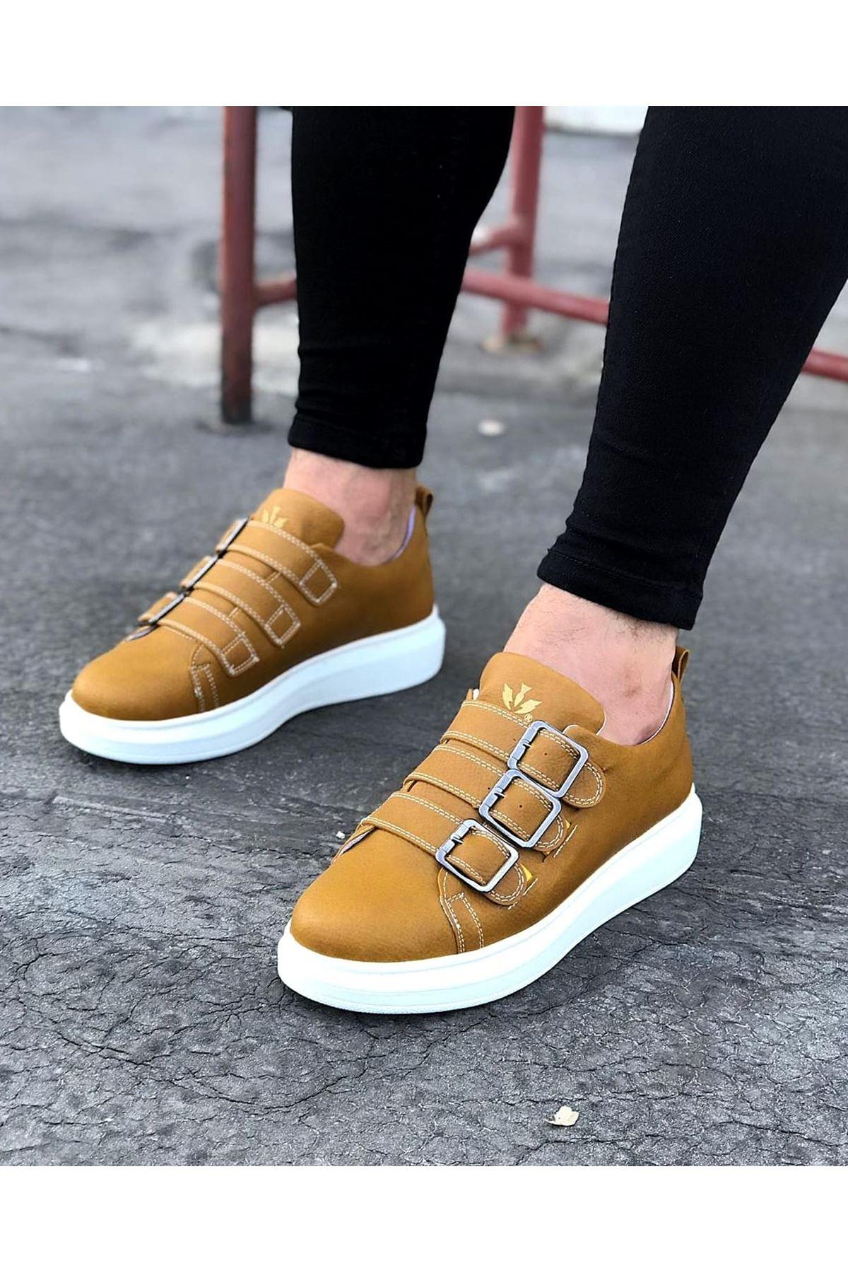 Wagoon WG050 Sarı Tokalı Kalın Taban Erkek Ayakkabı