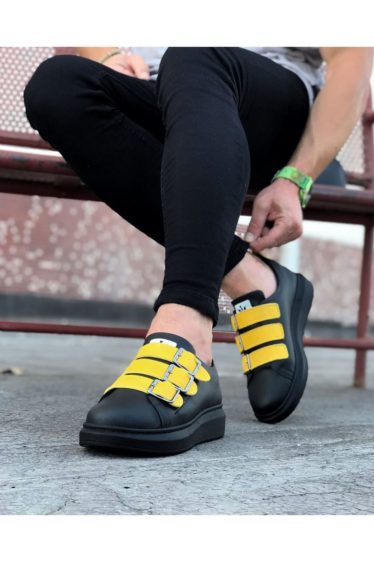 Wagoon WG050 Kömür Sarı Tokalı Kalın Taban Erkek Ayakkabı