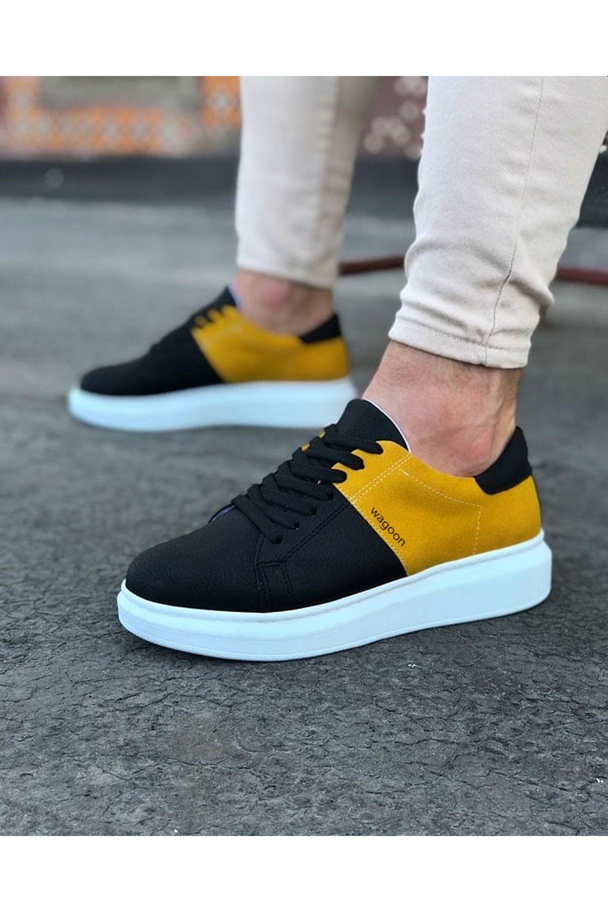Wagoon WG151 Siyah Sarı Süet Erkek Günlük Ayakkabı