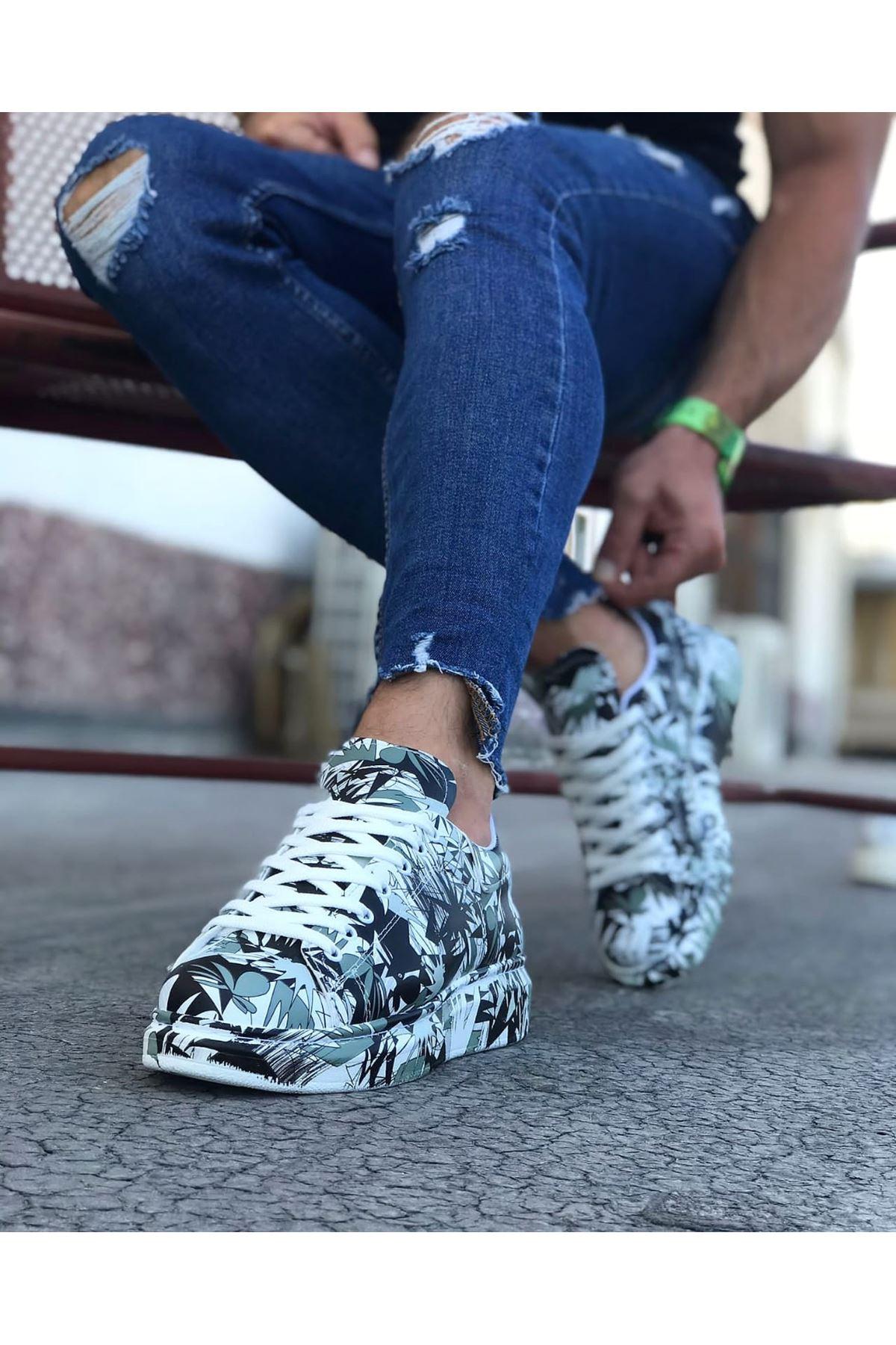 Wagoon WG501 Siyah Beyaz Boyalı Erkek Casual Ayakkabı