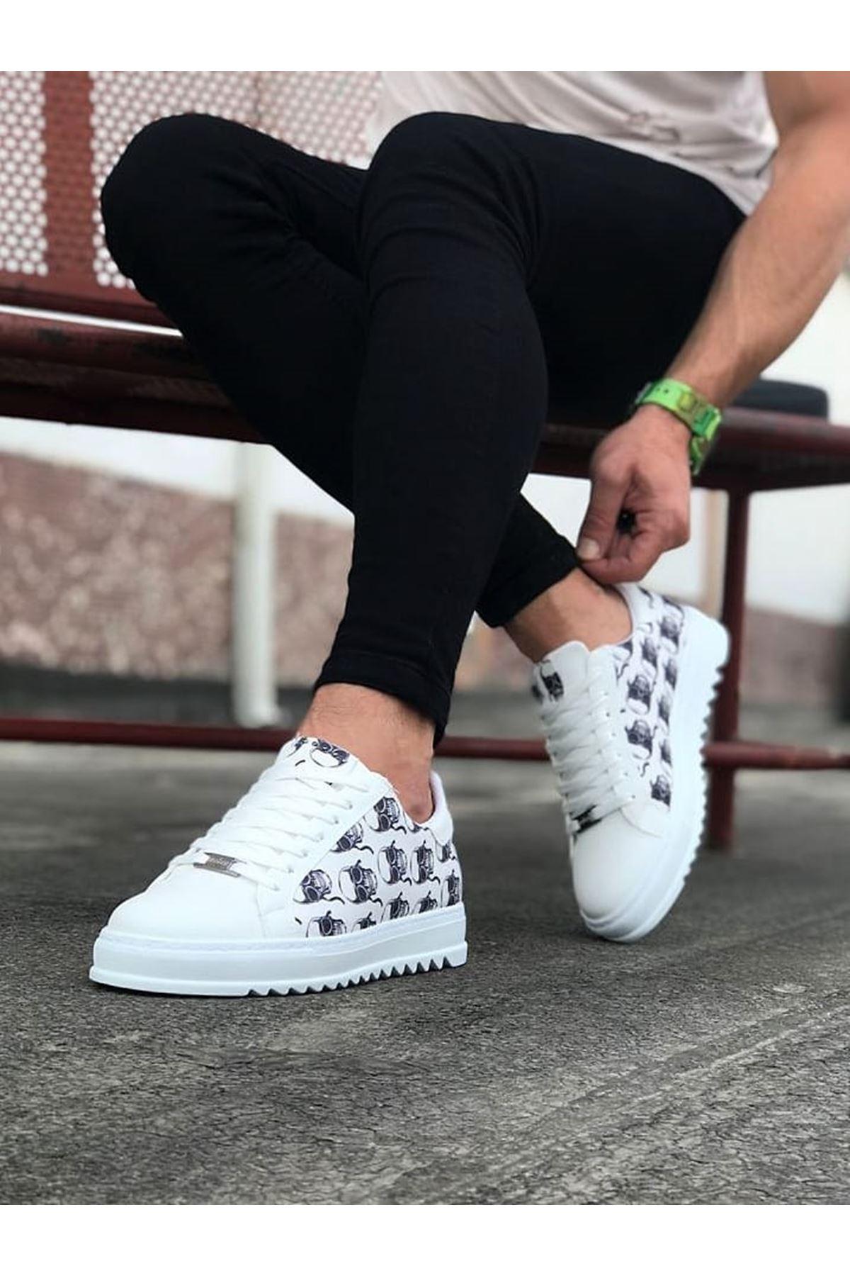 Wagoon WG01 Beyaz Kurukafa Erkek Casual Ayakkabı